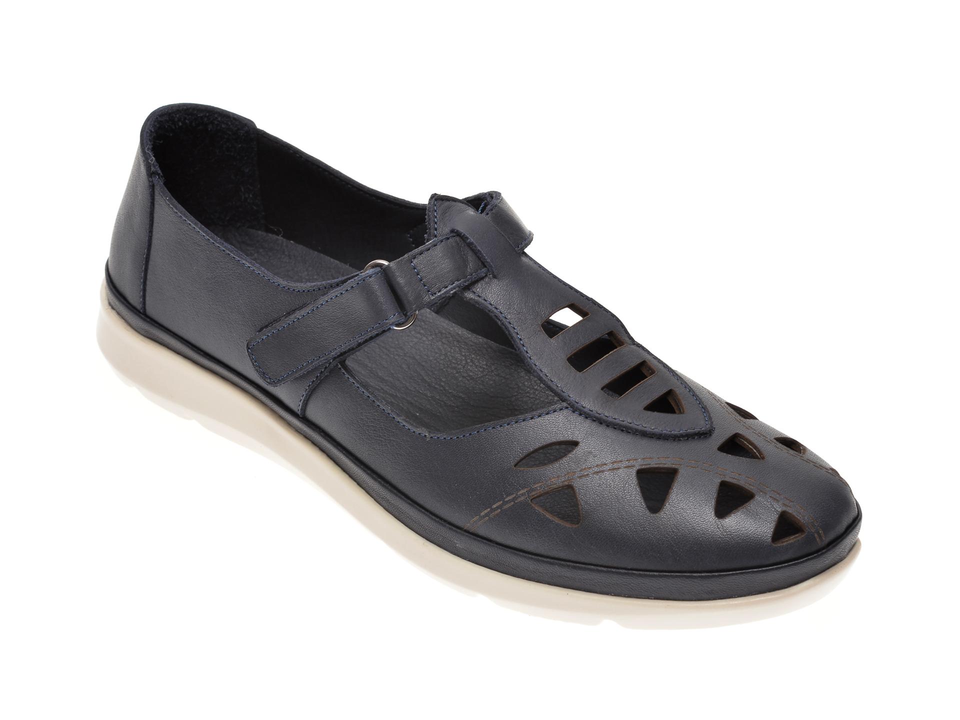 Pantofi MARCHA bleumarin, 609, din piele naturala imagine