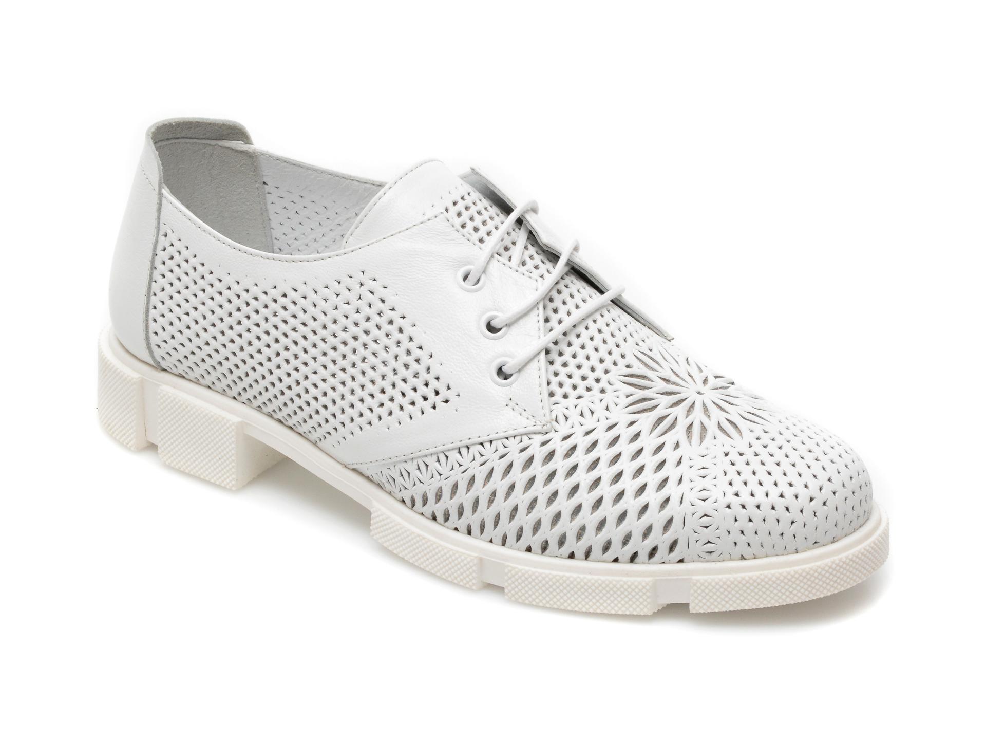 Pantofi MOLLY BESSA albi, MN106, din piele naturala