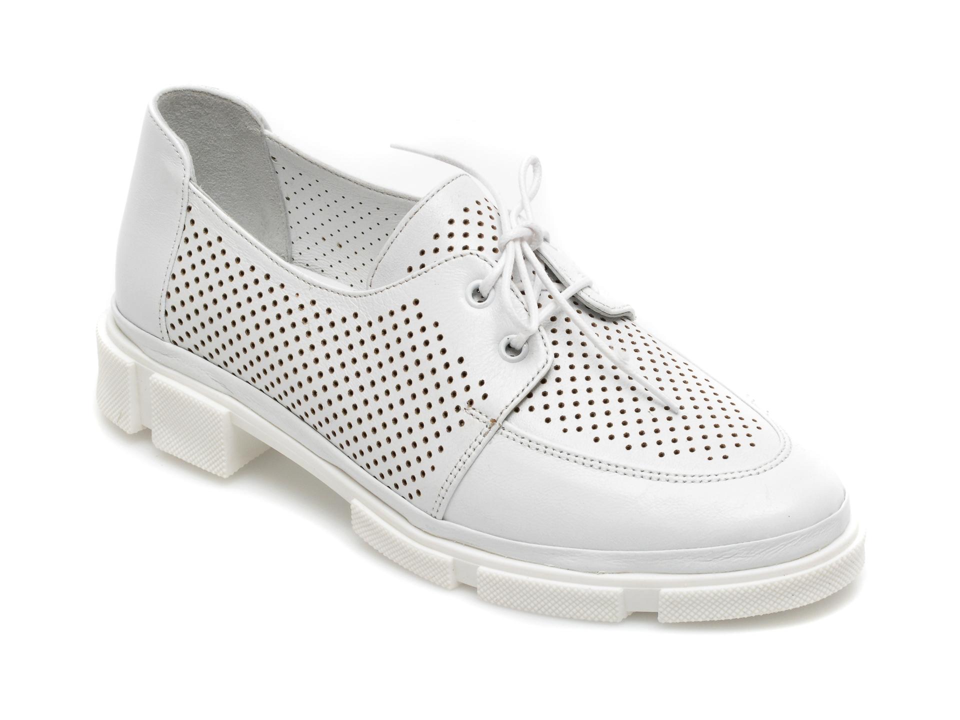 Pantofi MOLLY BESSA albi, MN107, din piele naturala