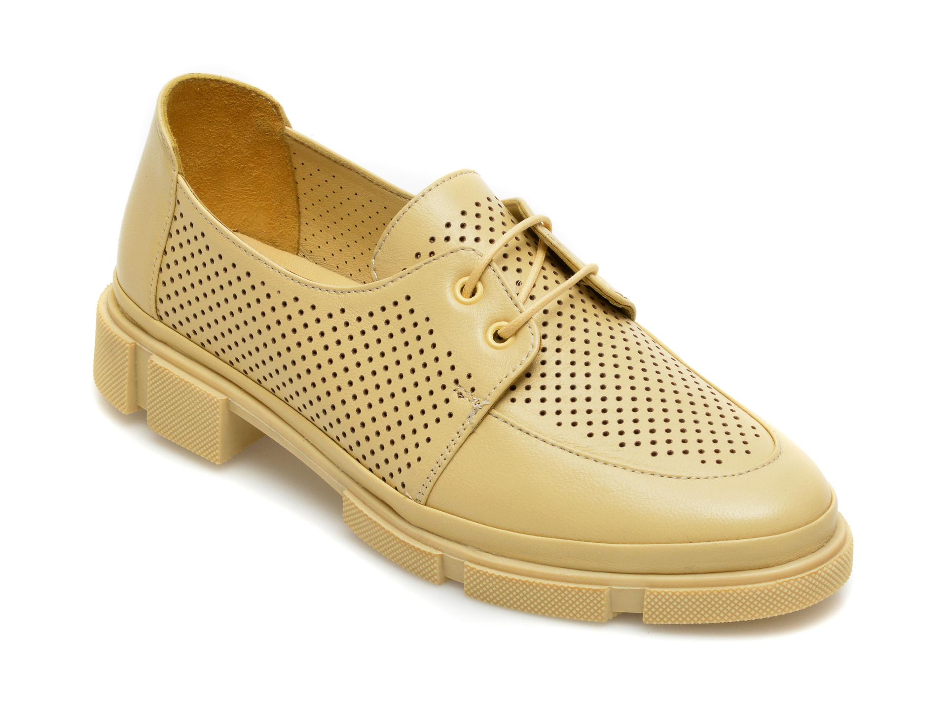 Pantofi MOLLY BESSA galbeni, MN107, din piele naturala