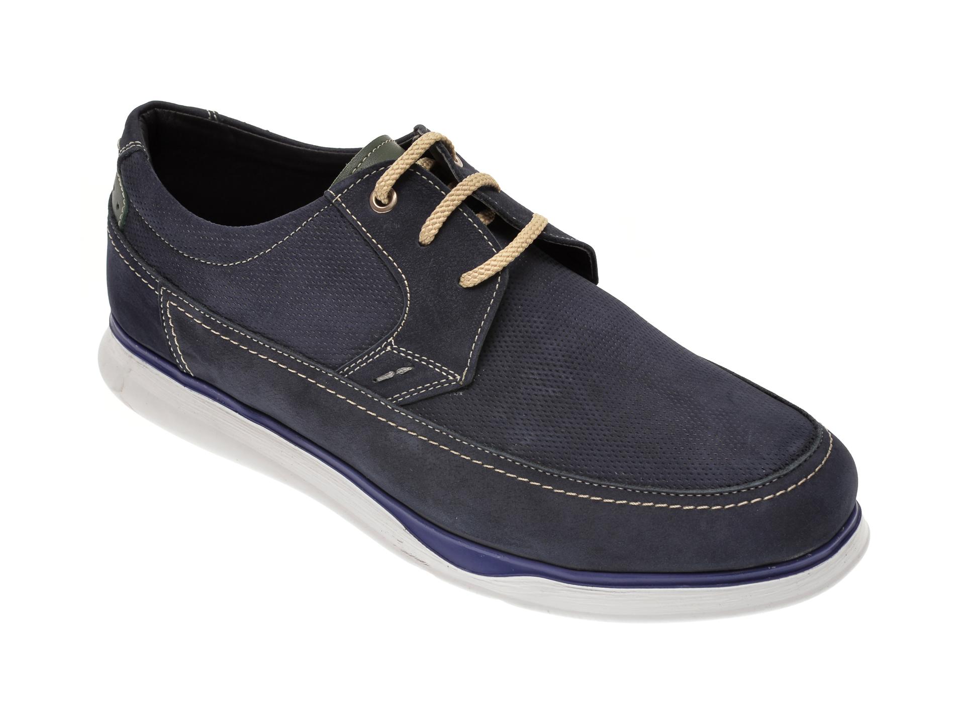 Pantofi OTTER bleumarin, 19332, din piele intoarsa imagine