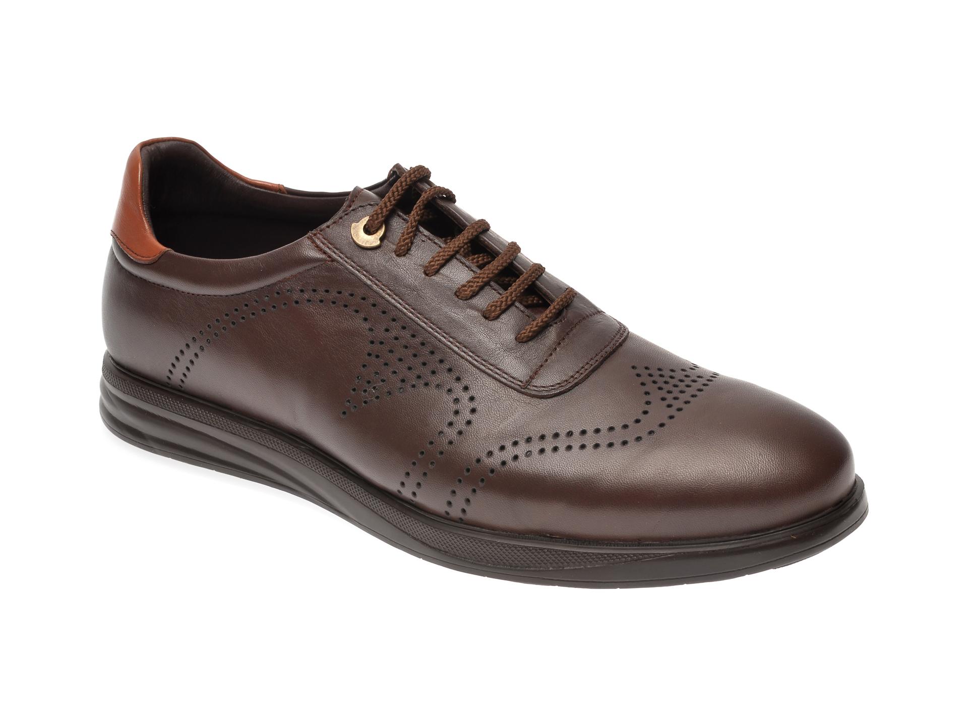 Pantofi OTTER maro, E881, din piele naturala