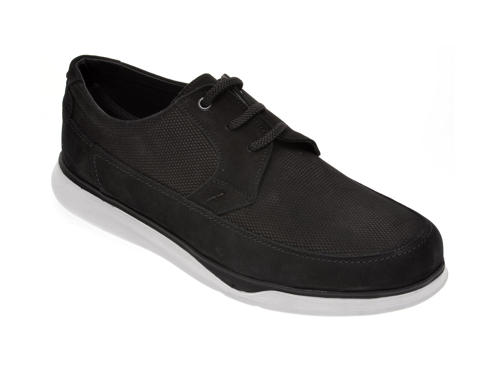 Pantofi OTTER negri, 19332, din piele intoarsa imagine