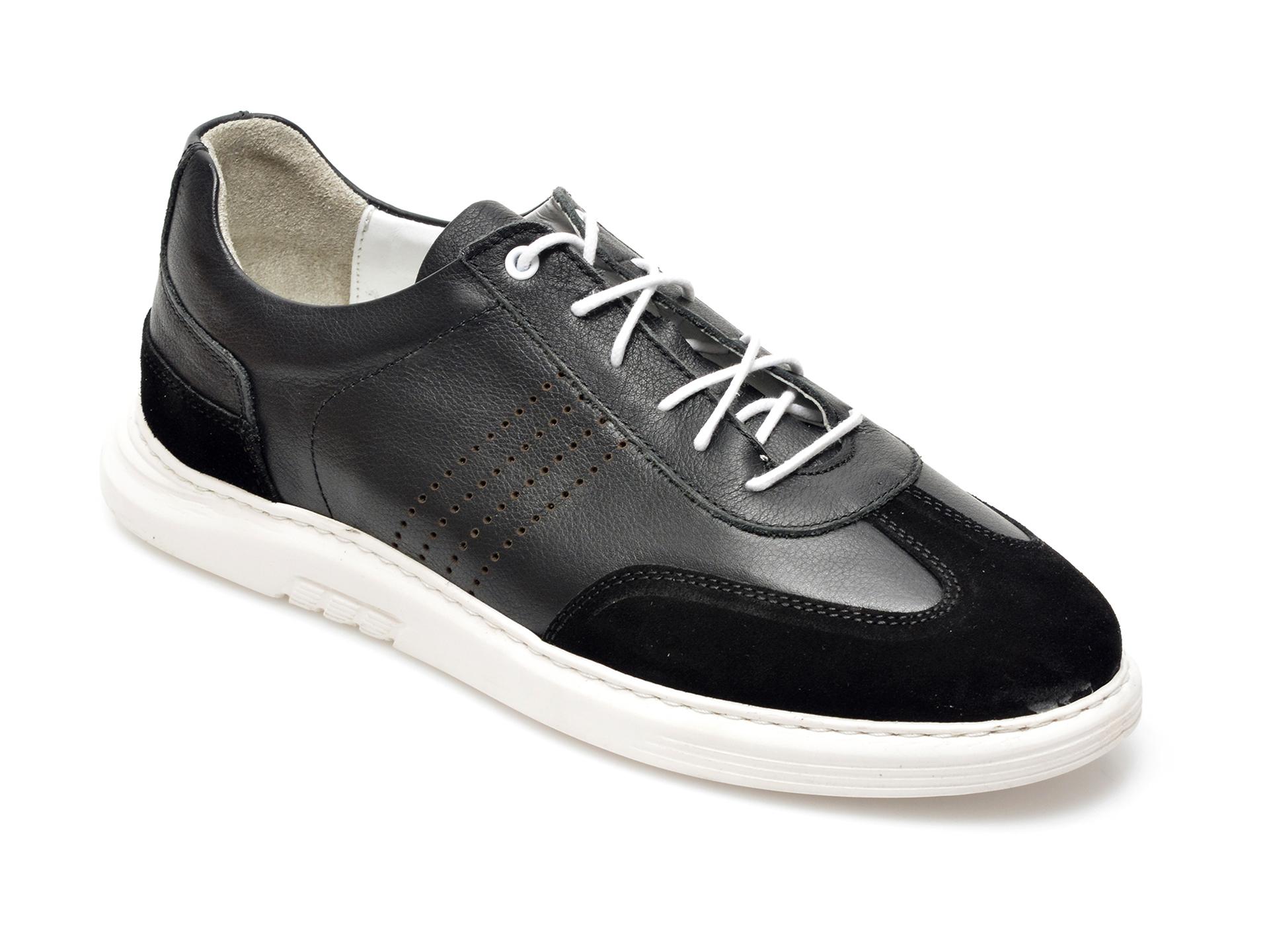 Pantofi OTTER negri, 2024, din piele naturala