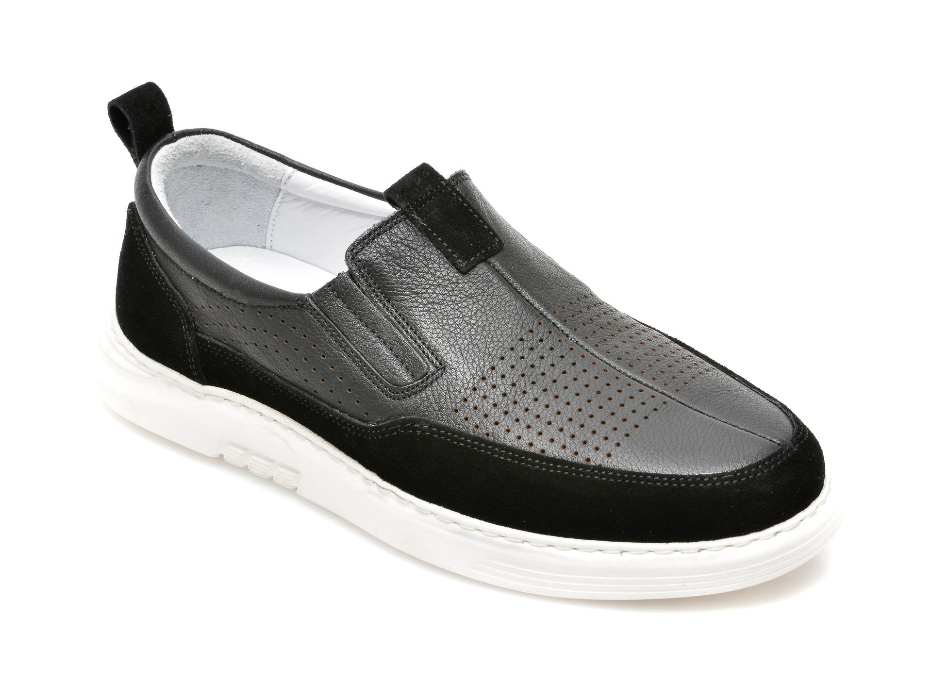 Pantofi OTTER negri, 2026, din piele naturala