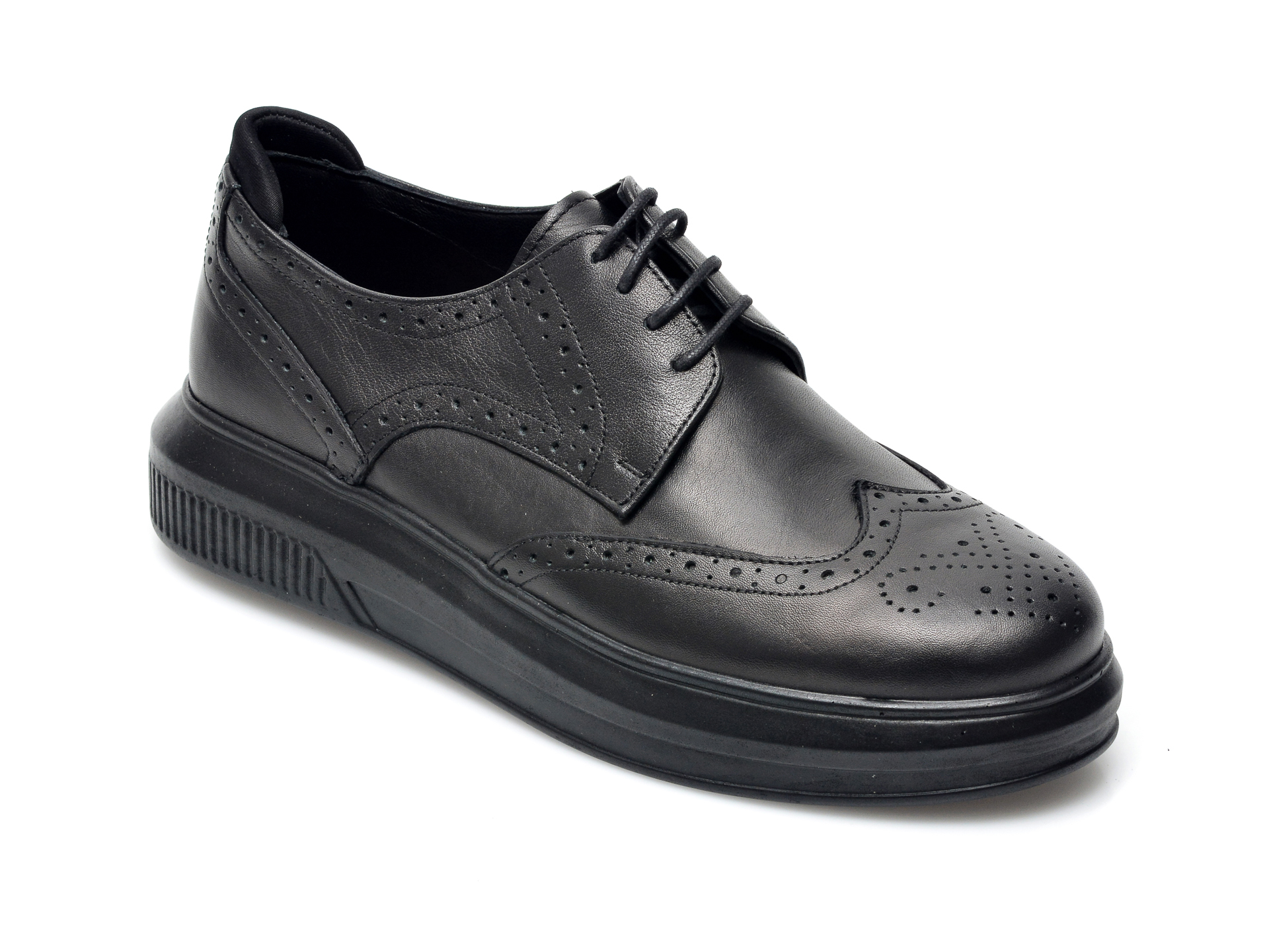 Pantofi Otter Negri, 2051031, Din Piele Naturala
