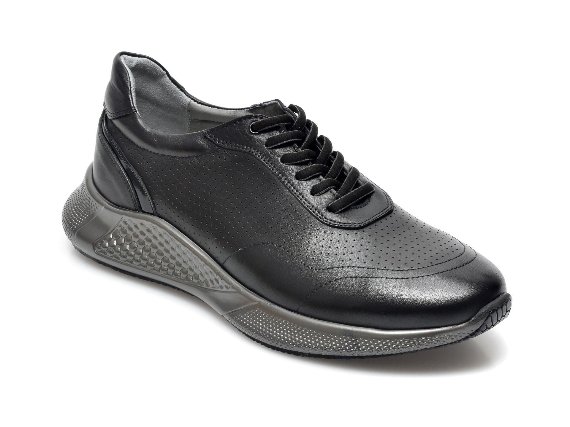 Pantofi Otter Negri, 25403, Din Piele Naturala
