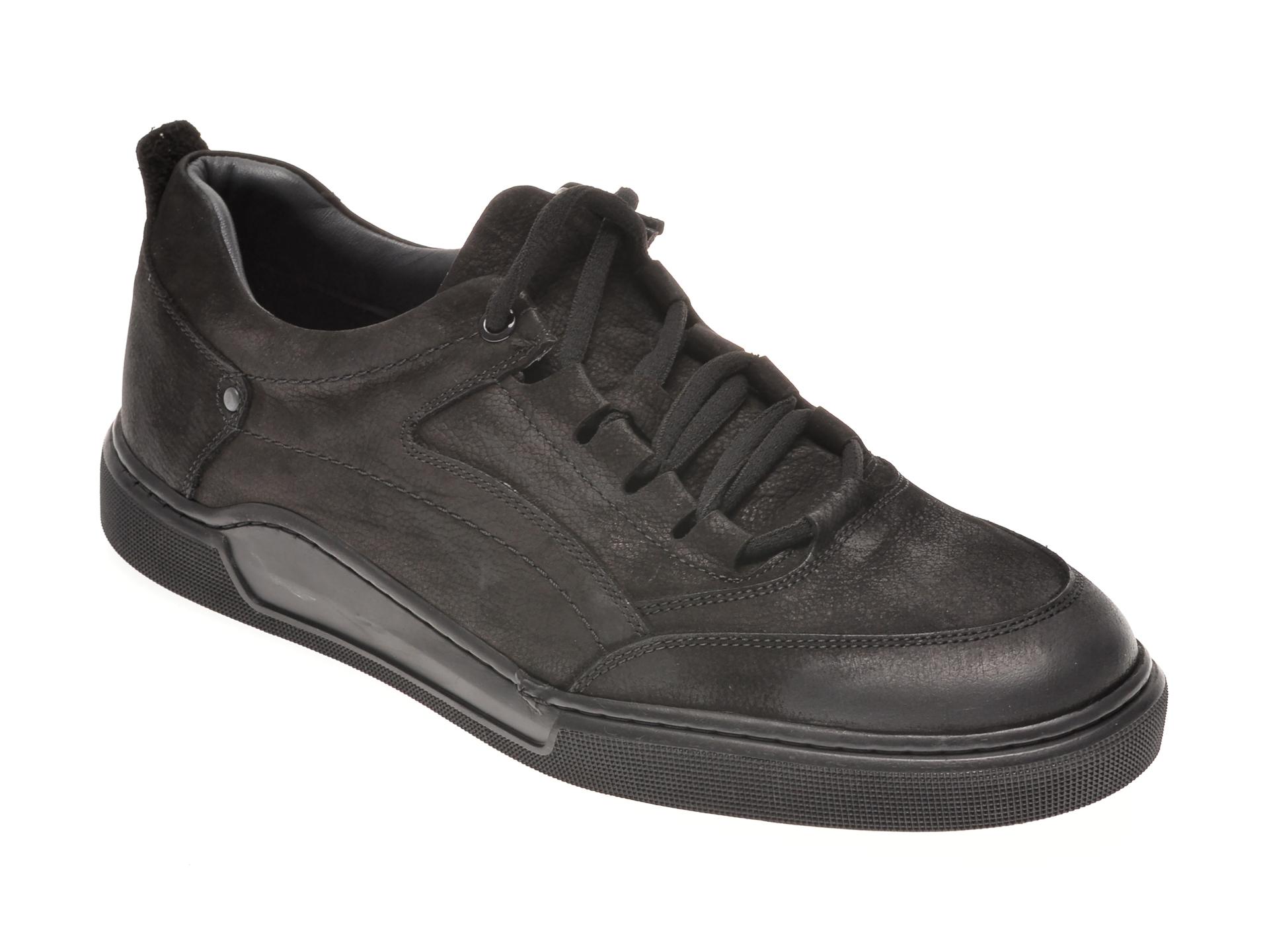 Pantofi Otter Negri, 48707, Din Nabuc
