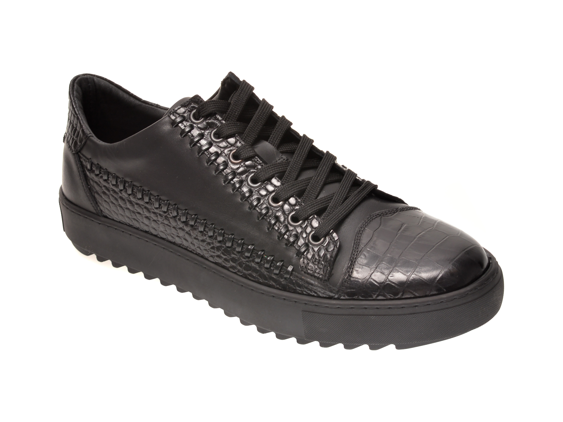 Pantofi Otter Negri, 601, Din Piele Naturala