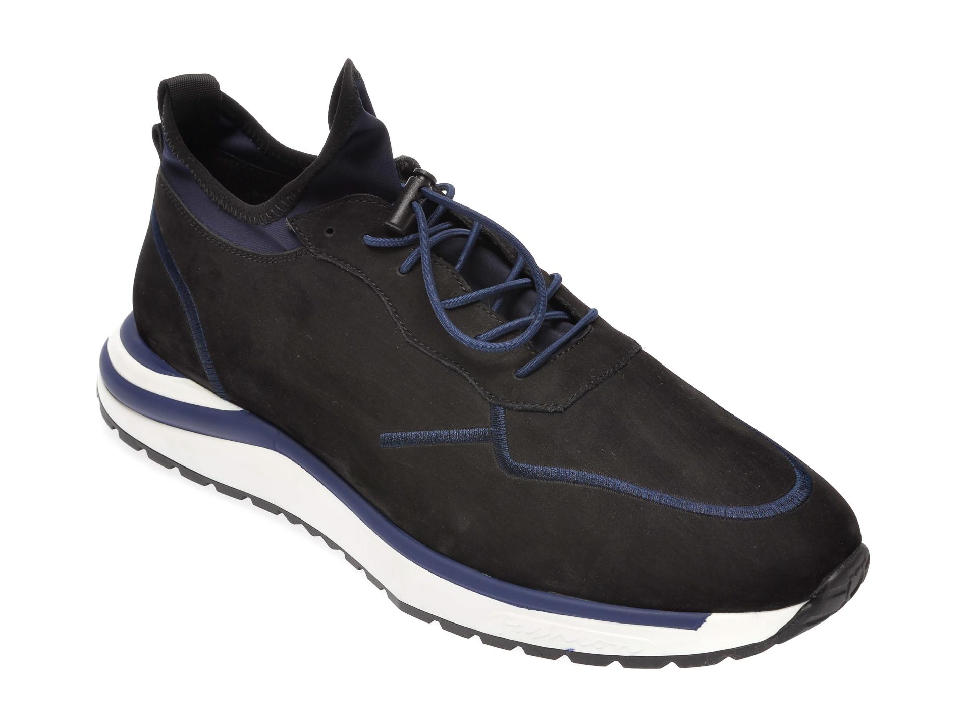 Pantofi Otter Negri, 60471, Din Piele Intoarsa
