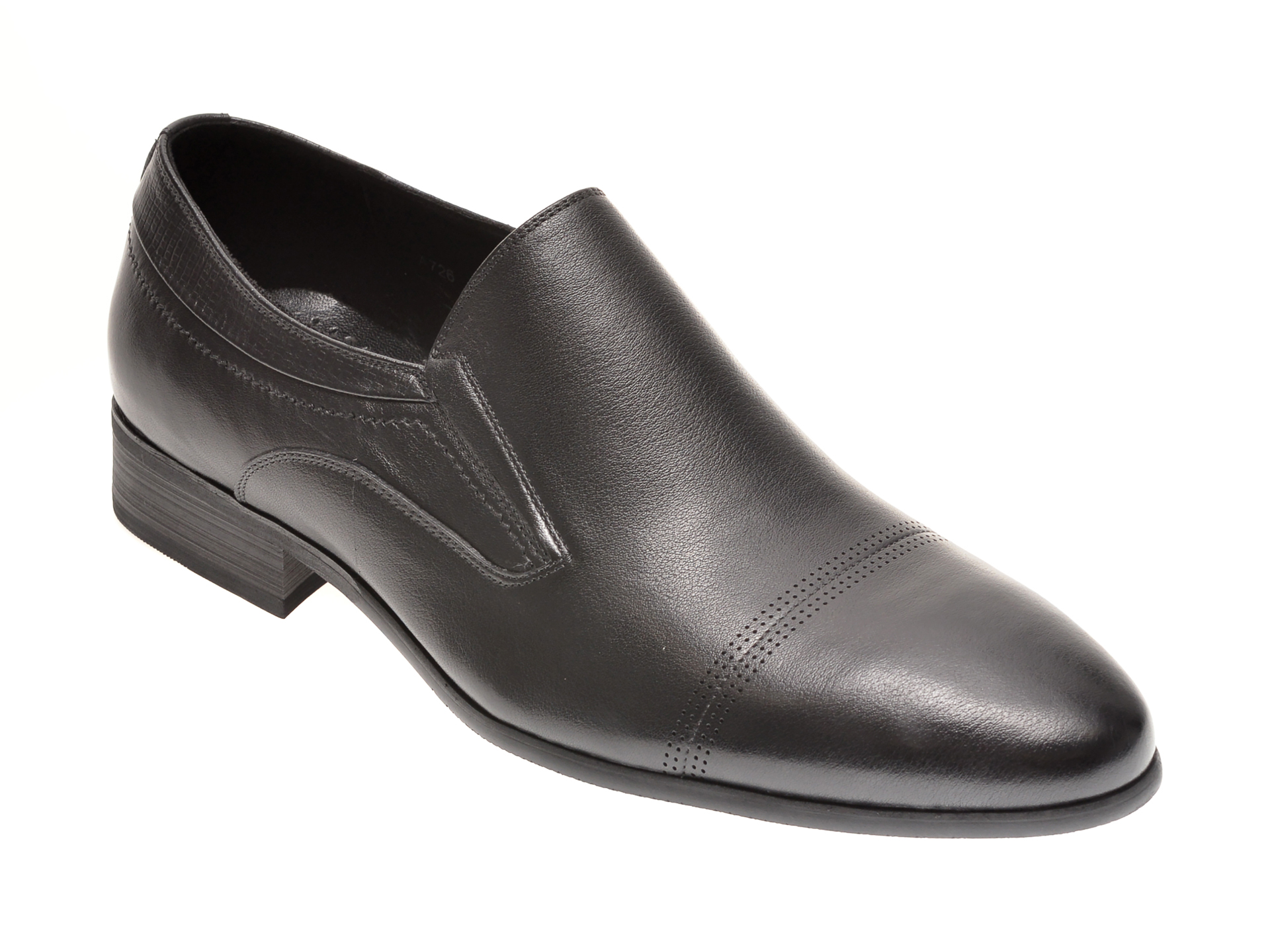 Pantofi Otter Negri, A726, Din Piele Naturala