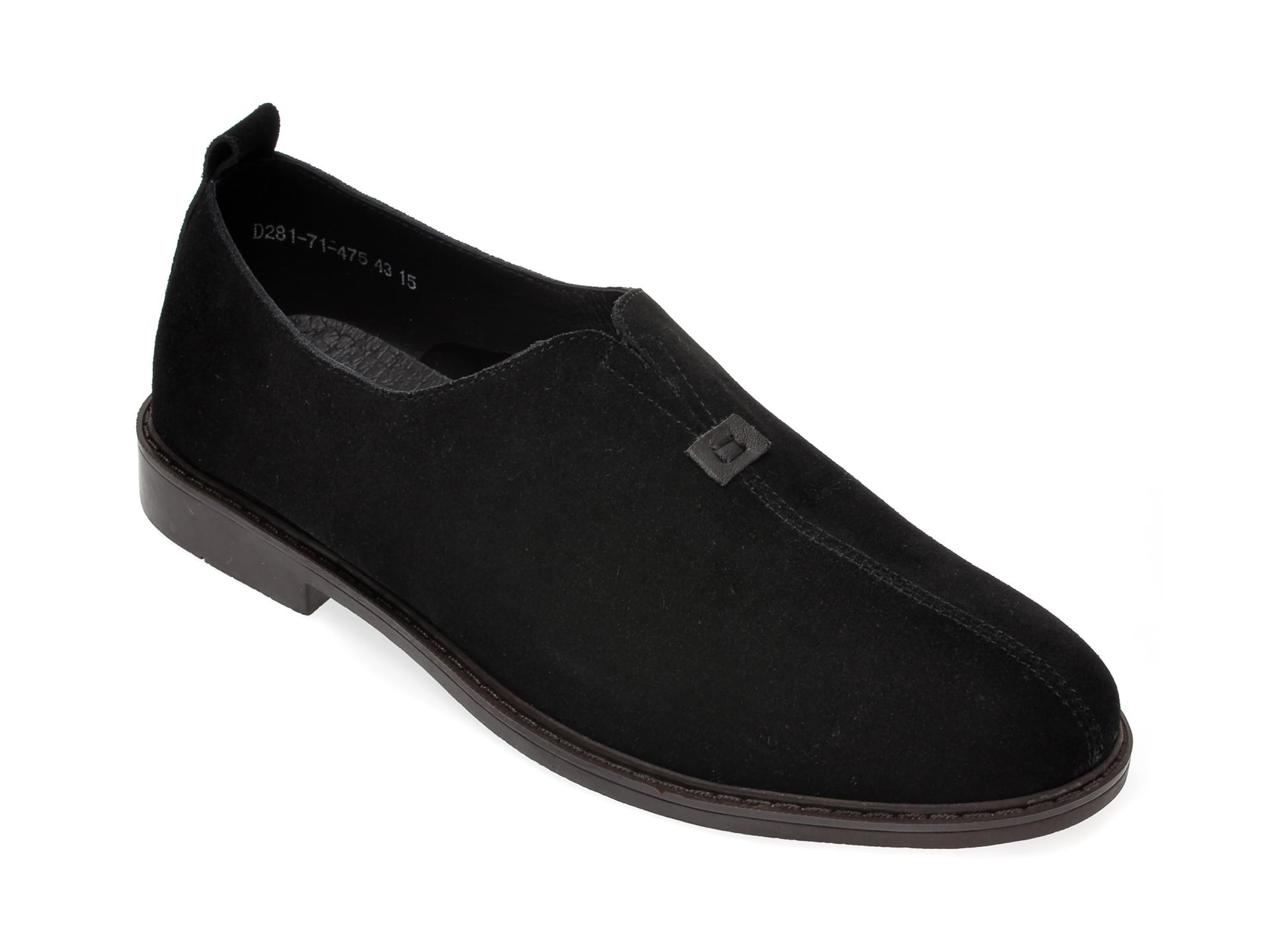 Pantofi OTTER negri, D281714, din piele intoarsa
