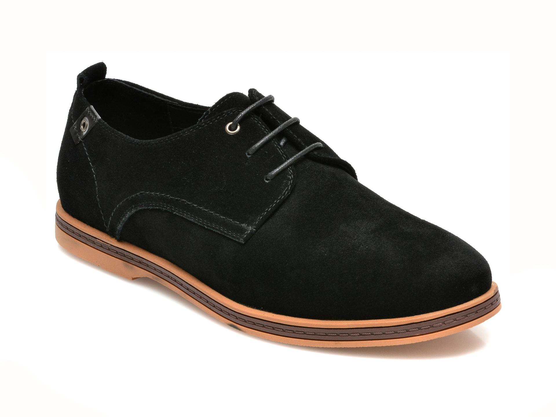 Pantofi OTTER negri, F01881, din piele intoarsa