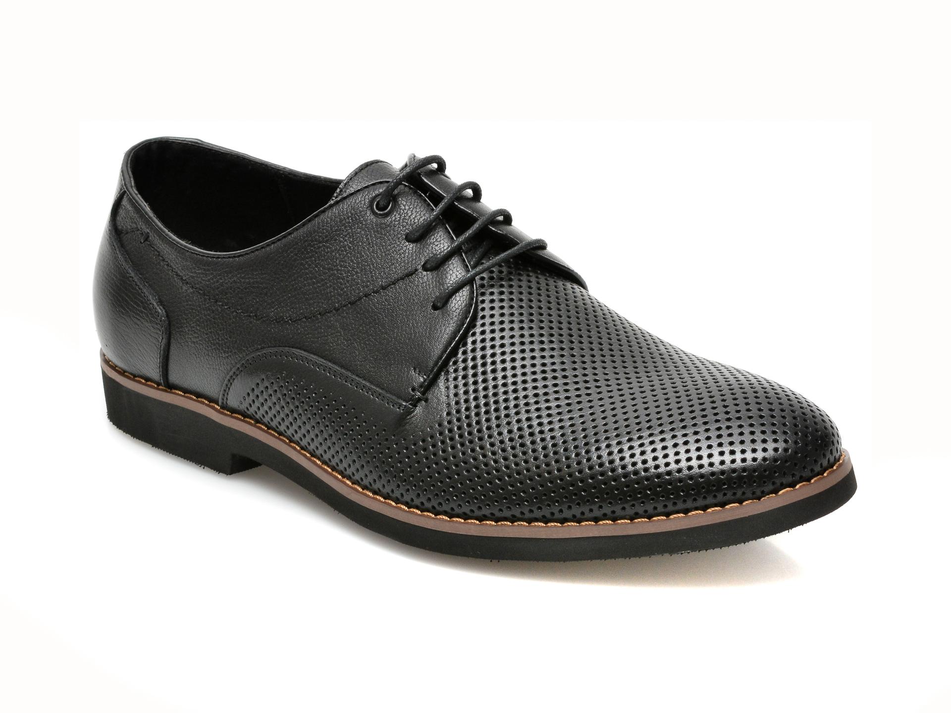 Pantofi OTTER negri, F40841, din piele naturala