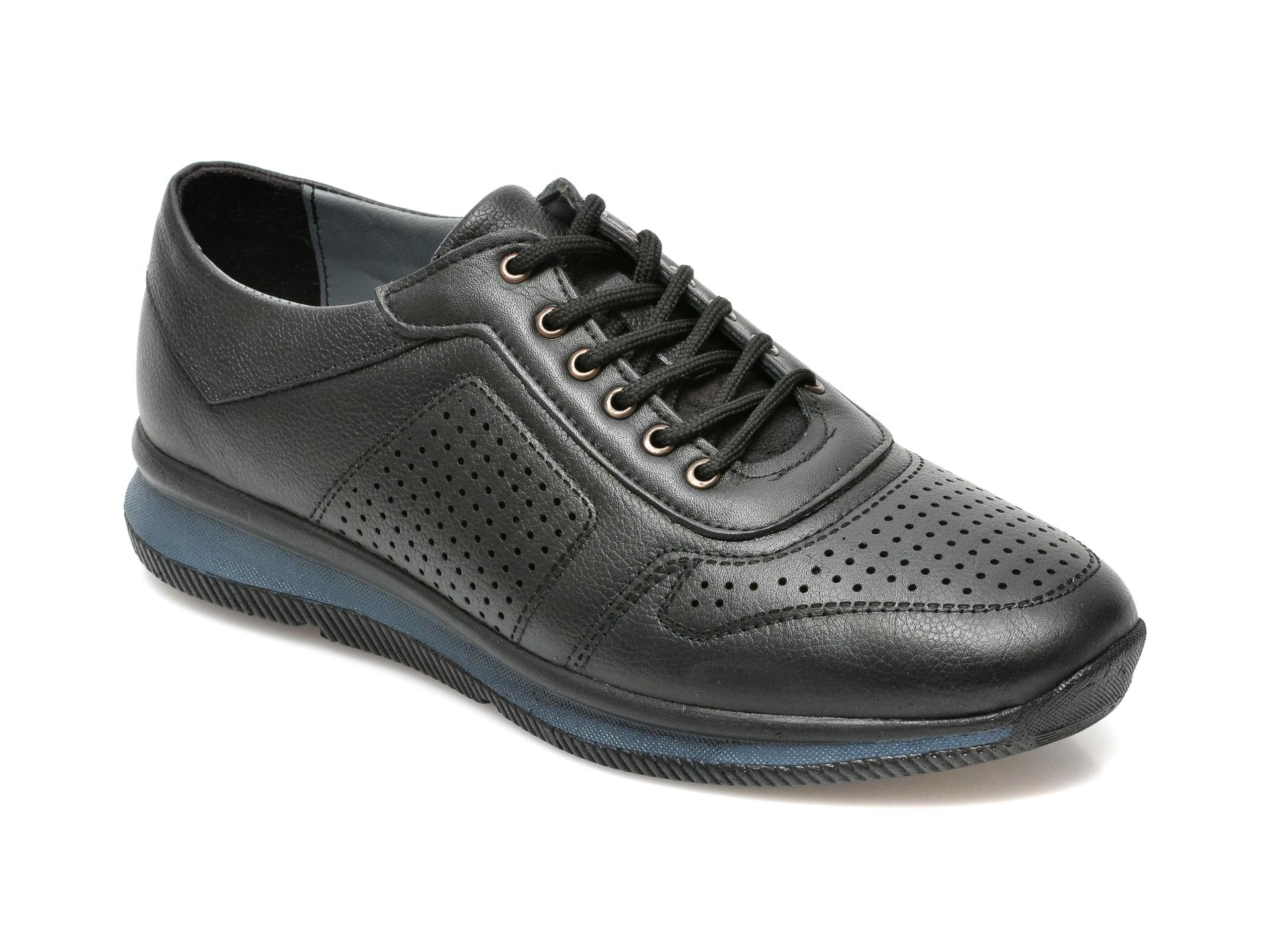 Pantofi OTTER negri, M1973, din piele naturala