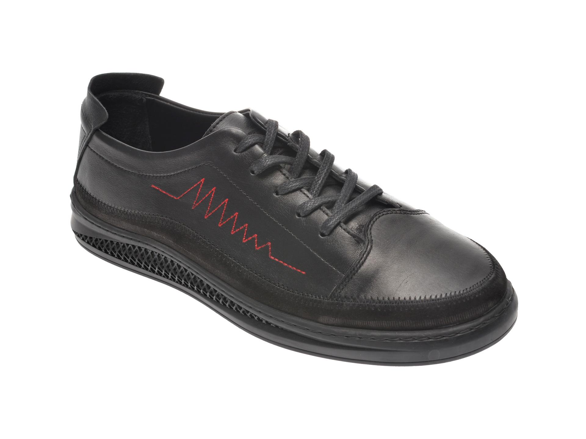 Pantofi OTTER negri, M5603, din piele naturala