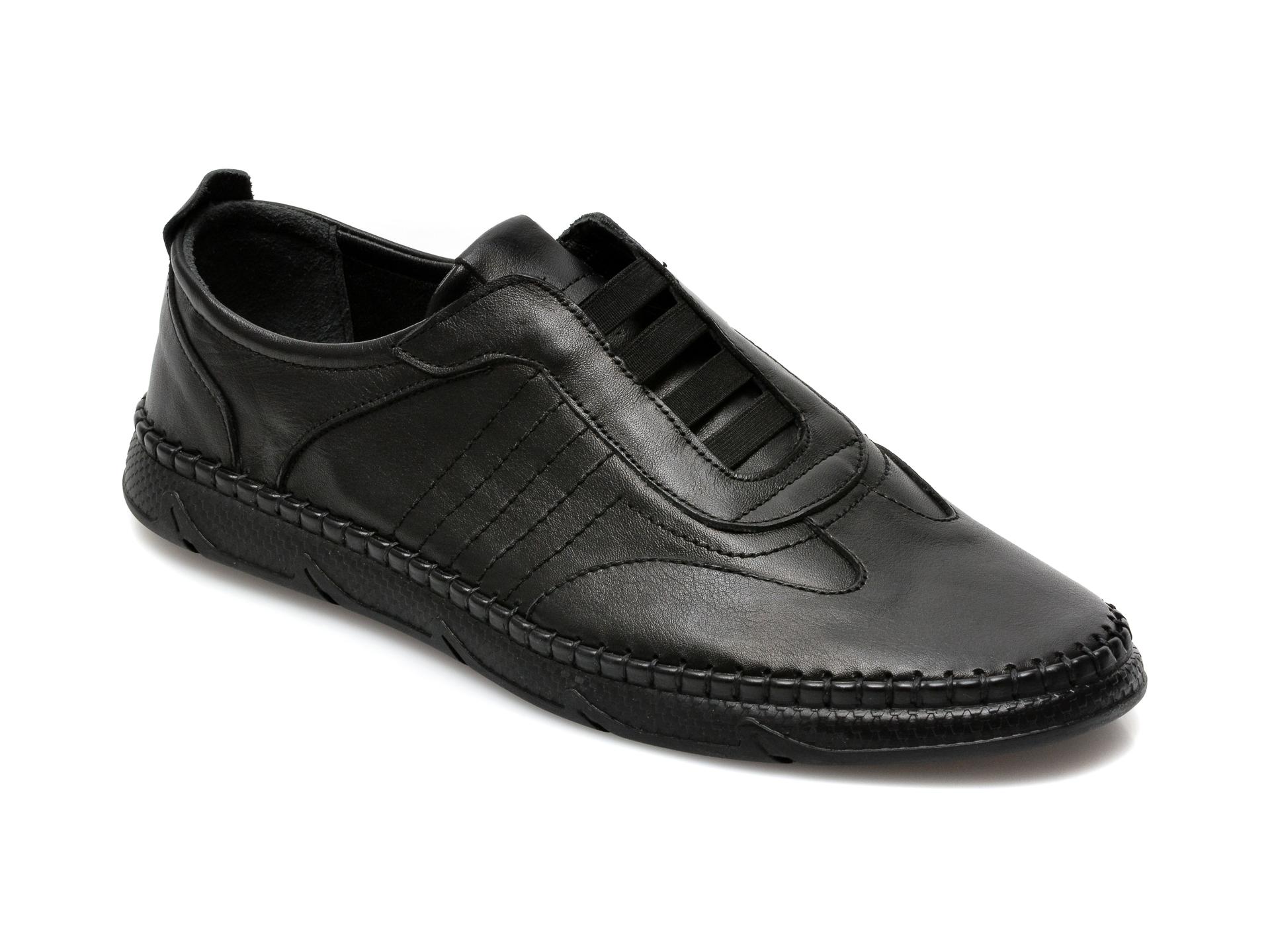 Pantofi OTTER negri, M5652, din piele naturala