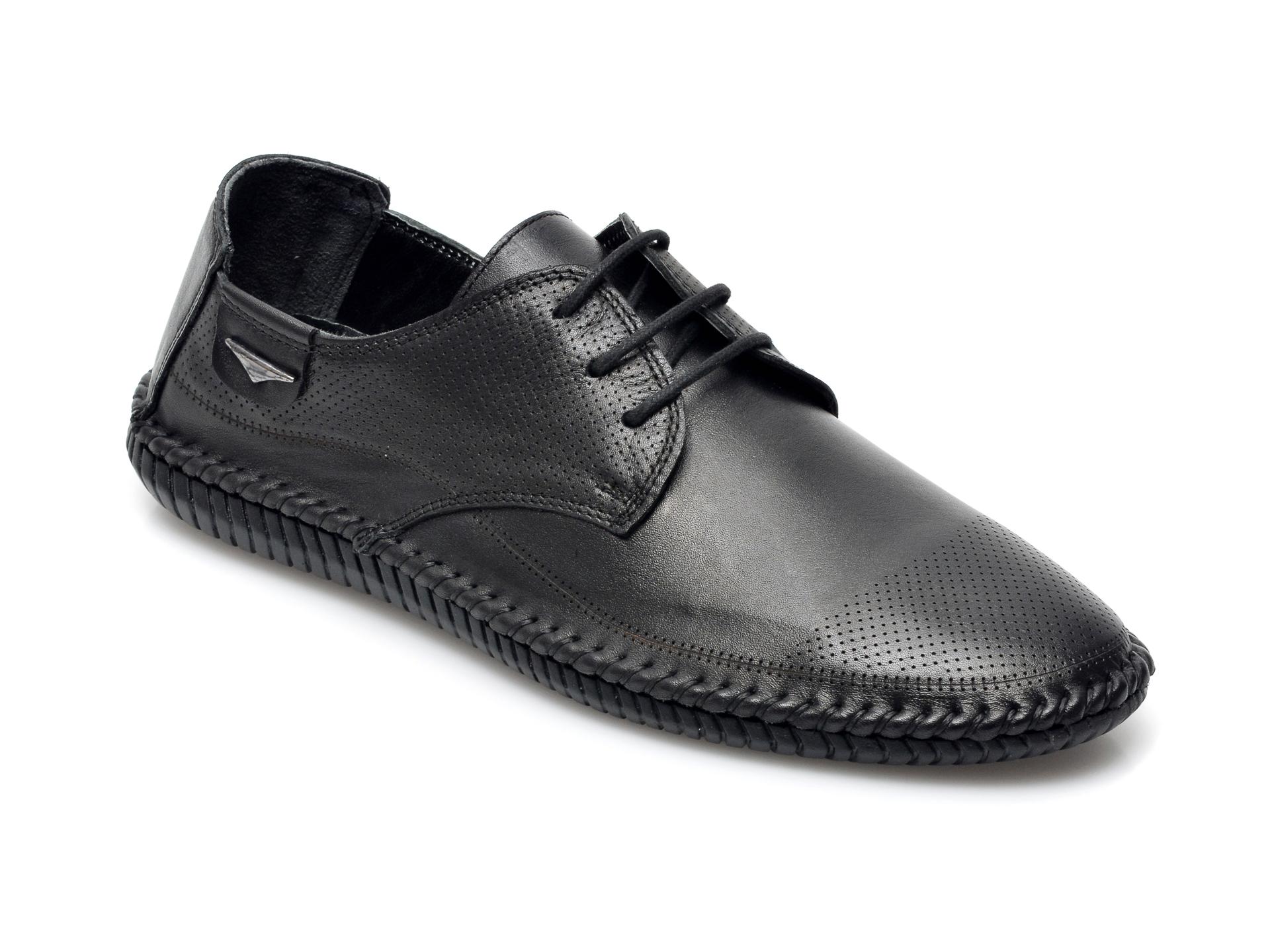 Pantofi OTTER negri, M5789, din piele naturala