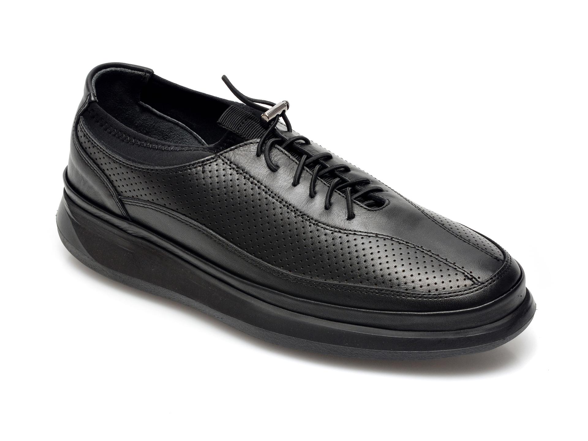 Pantofi OTTER negri, M6065, din piele naturala