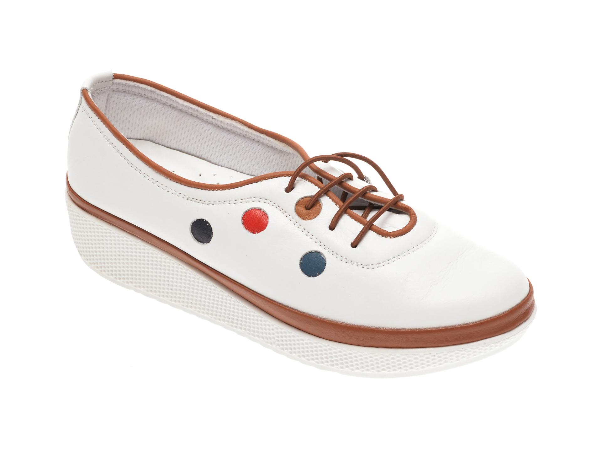 Pantofi PASS COLLECTION albi, H17, din piele naturala imagine