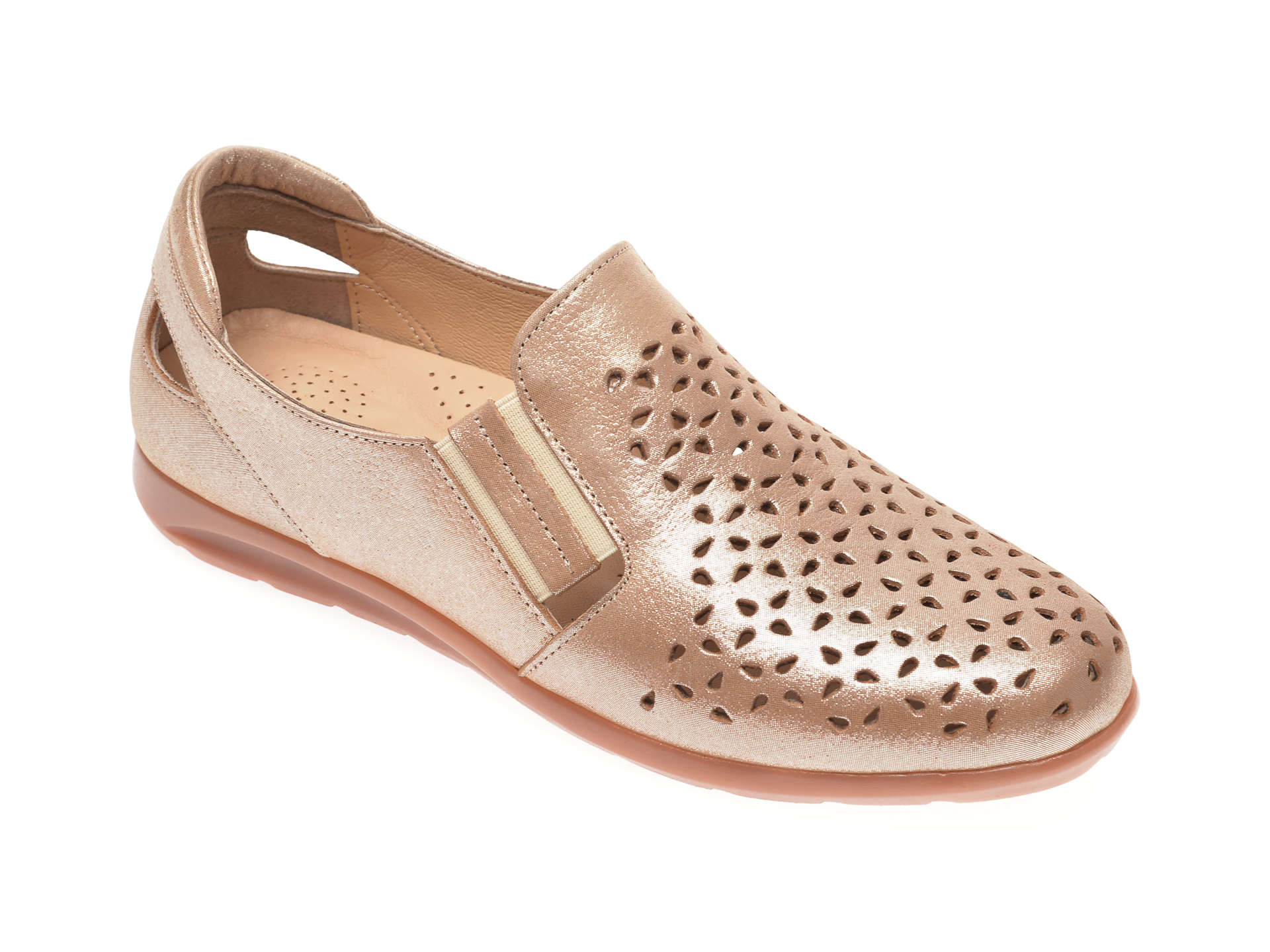 Pantofi PASS COLLECTION aurii, 14152, din piele naturala imagine