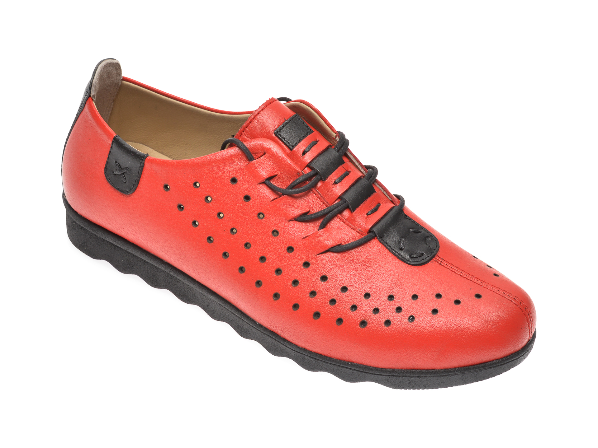 Pantofi PASS COLLECTION rosii, K92101, din piele naturala imagine