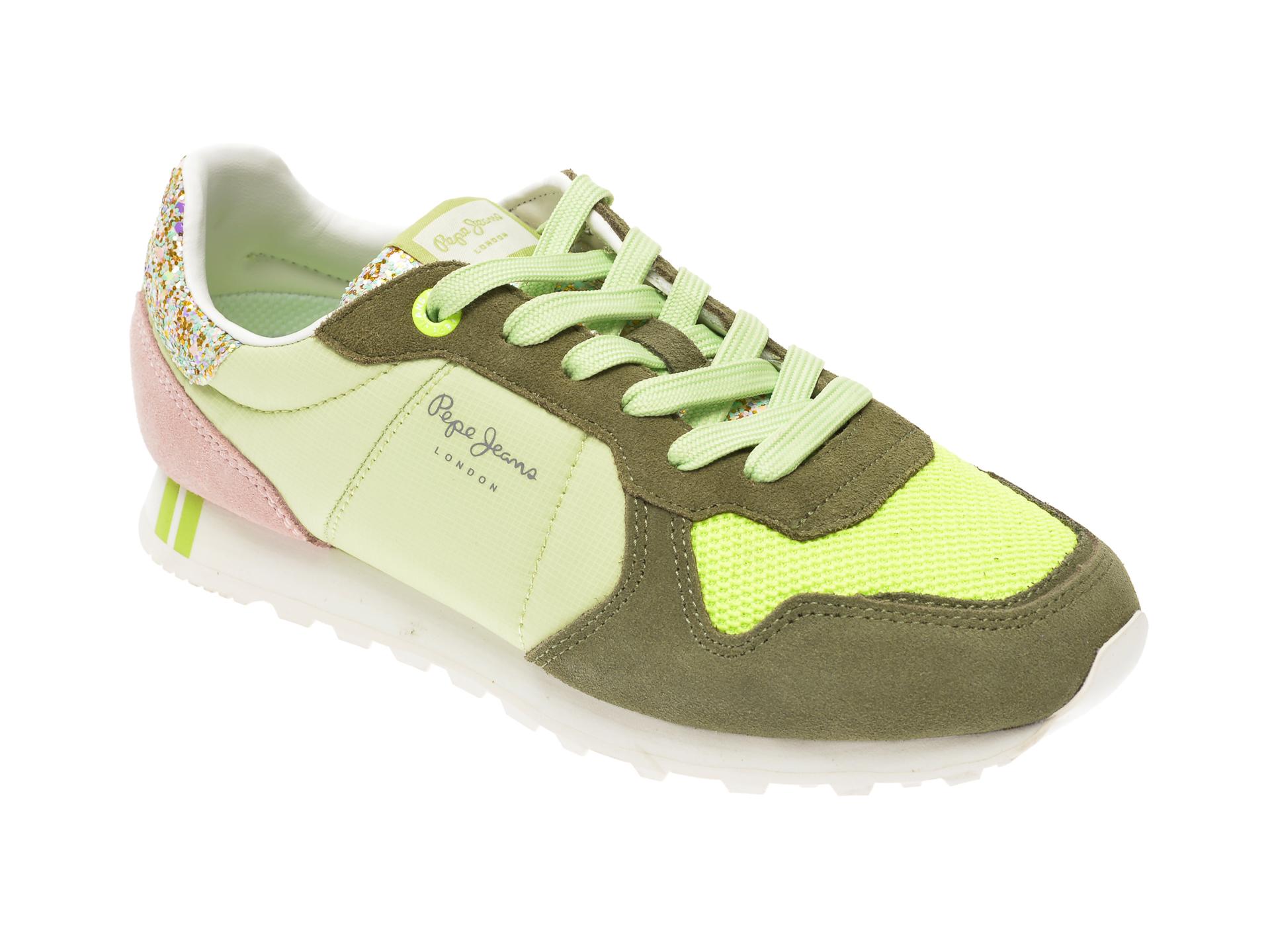 Pantofi PEPE JEANS verzi, LS31006, din material textil si piele intoarsa imagine