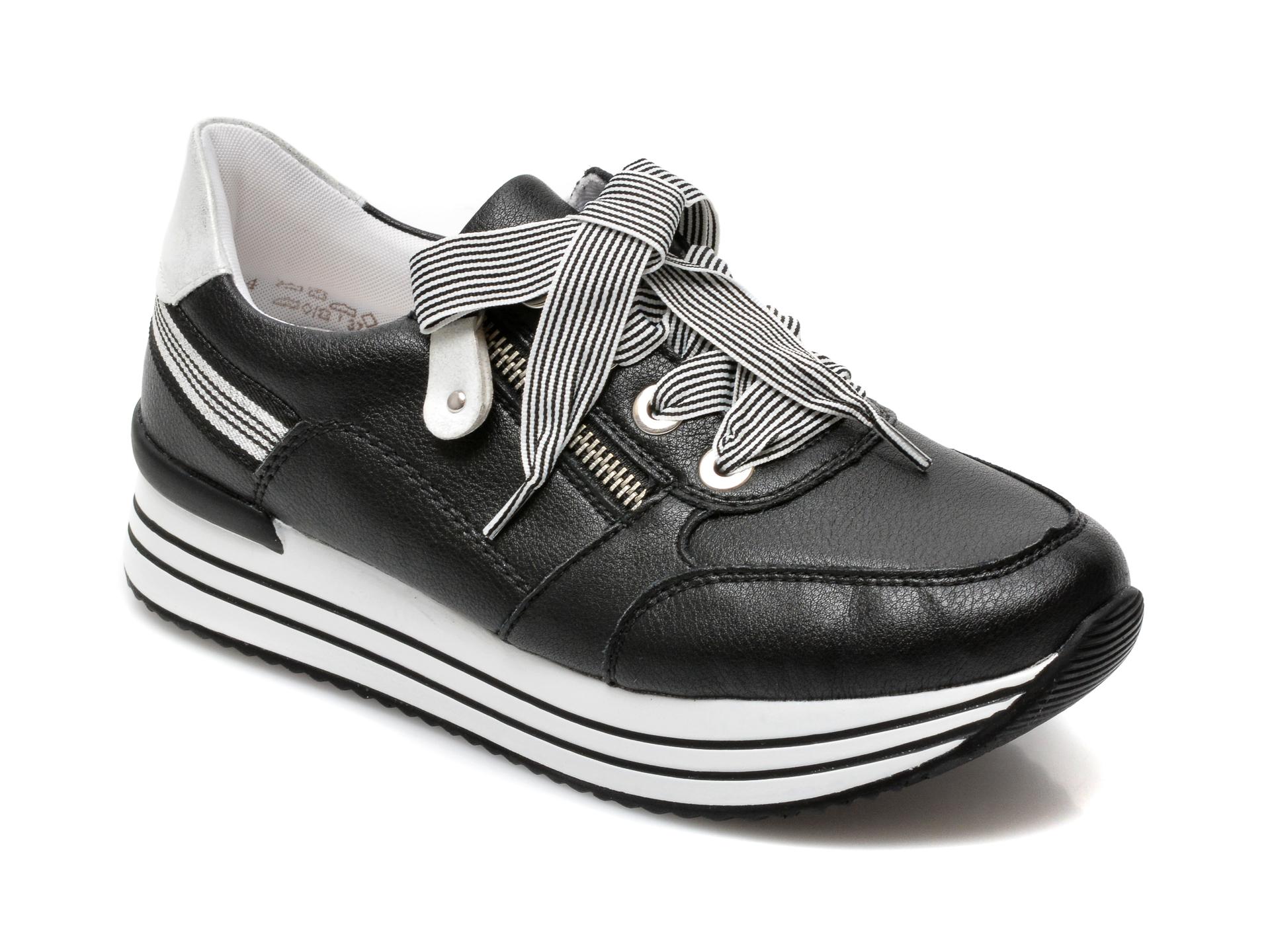 Pantofi REMONTE negri, D1312, din piele naturala