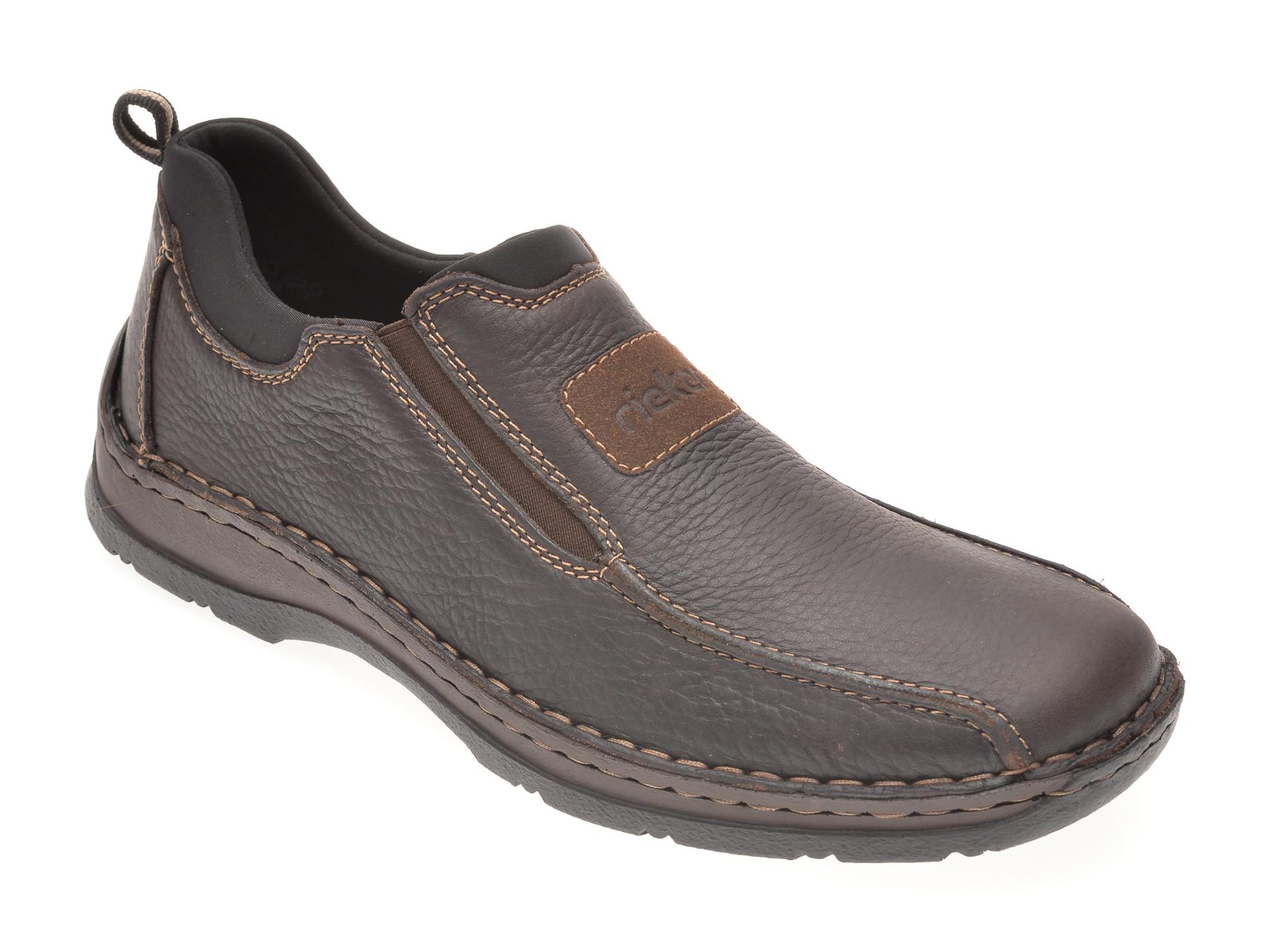 Pantofi Rieker Negri, 5363, Din Piele Naturala