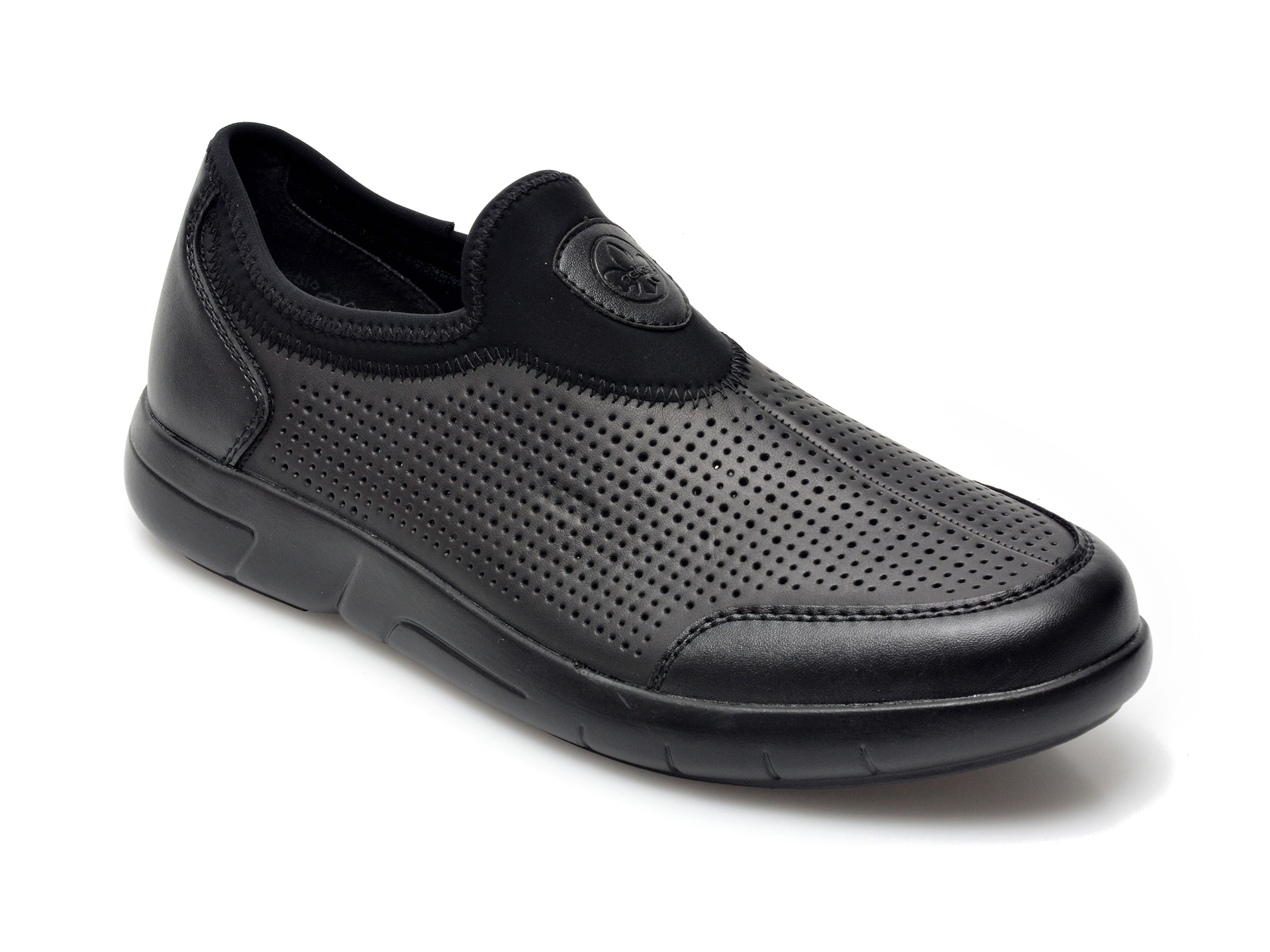 Pantofi RIEKER negri, B2767, din piele ecologica