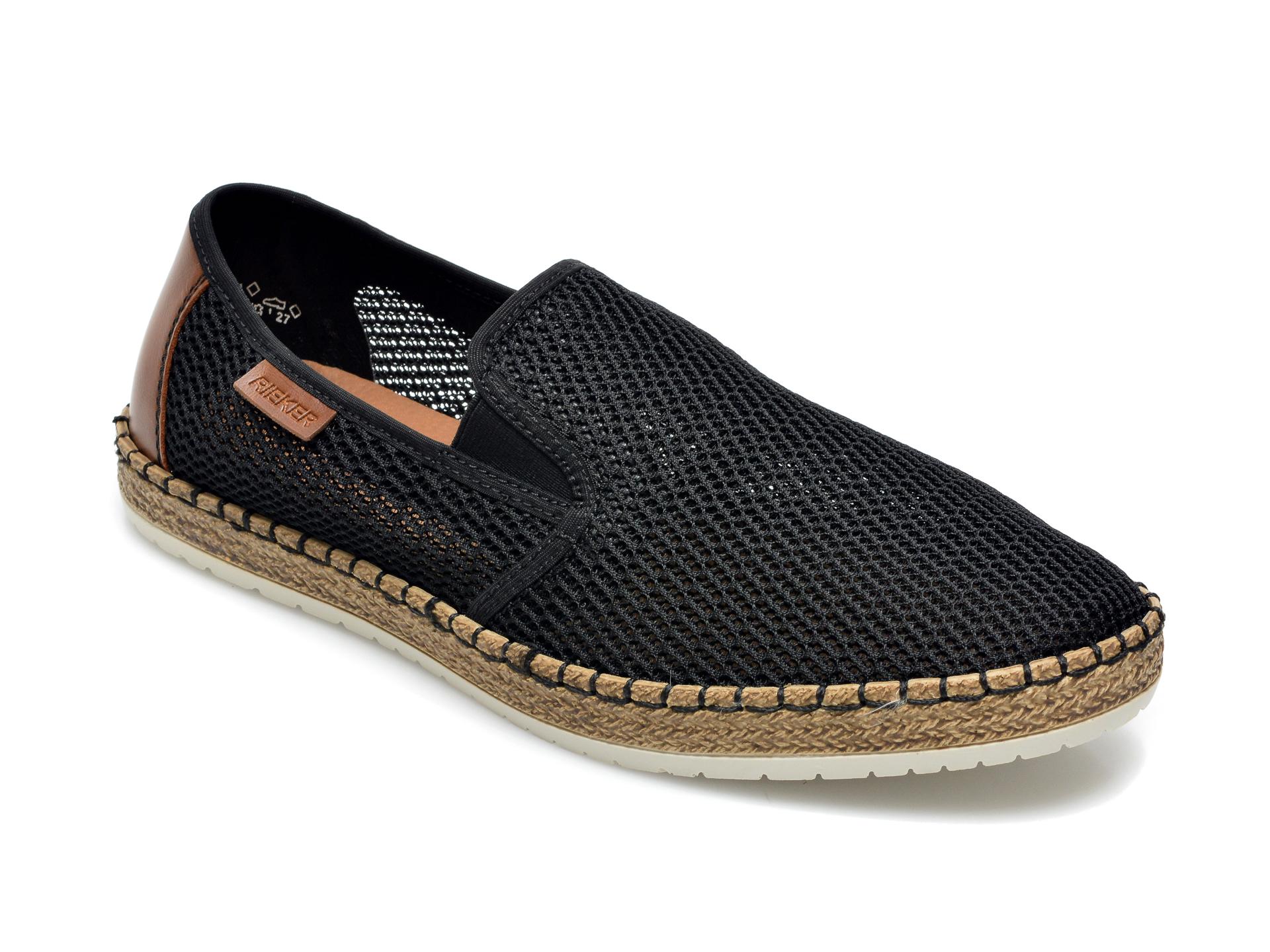 Pantofi RIEKER negri, B5276, din material textil