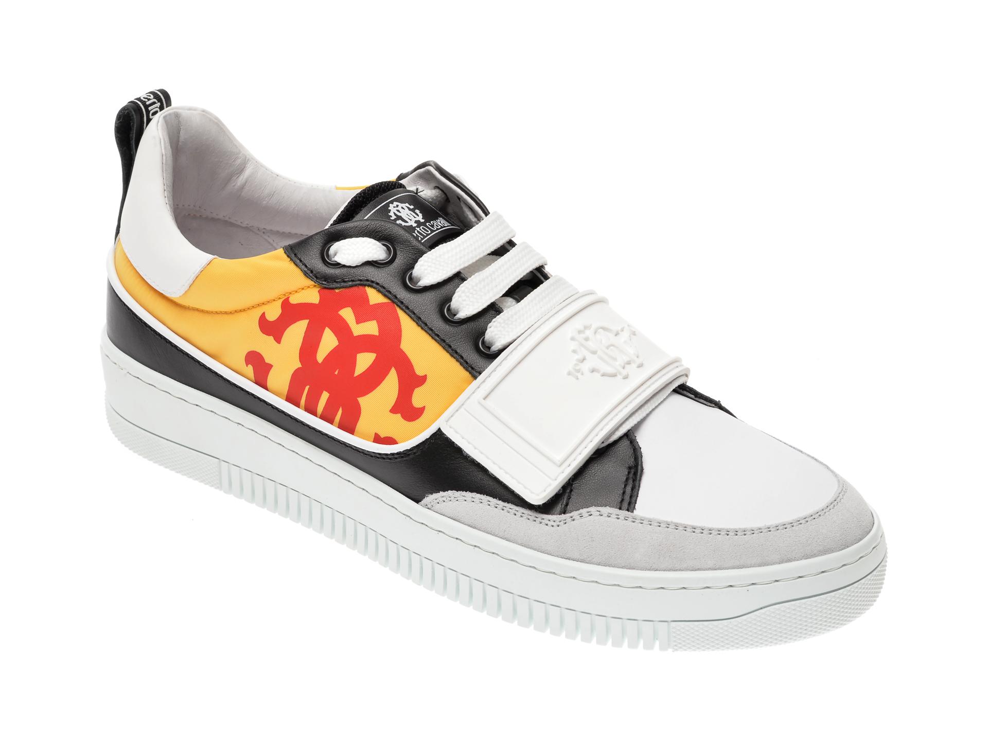 Pantofi ROBERTO CAVALLI albi, 1090RZ, din piele naturala