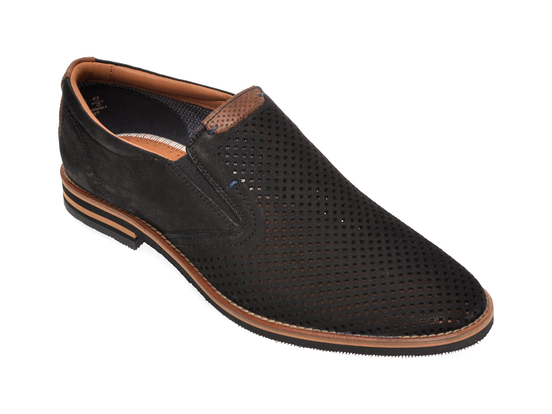 Pantofi Salamander Negri, 57329, Din Nabuc