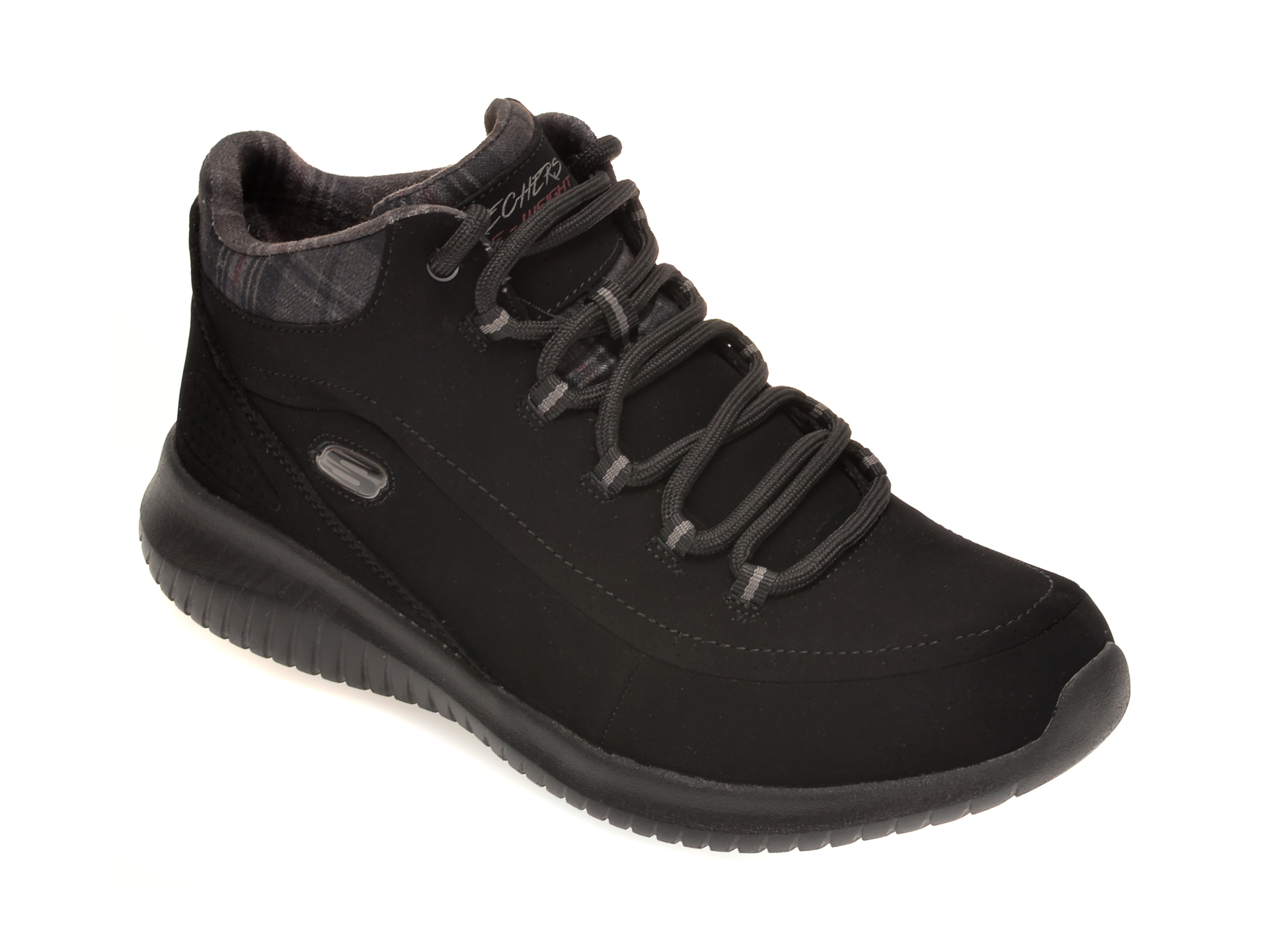 Pantofi SKECHERS negri, ULTRA FLEX JUST CHILL, din nabuc imagine