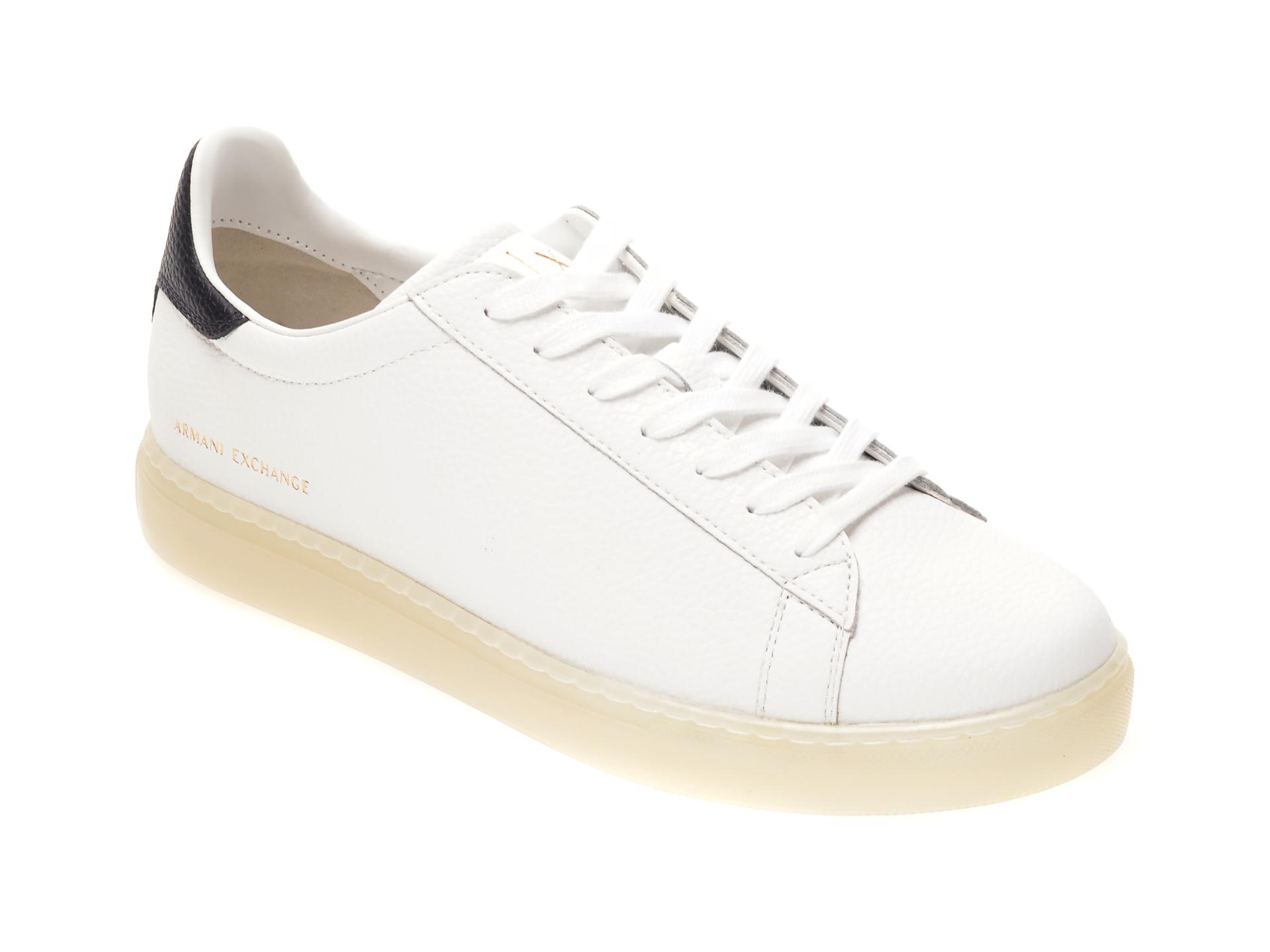 Pantofi sport ARMANI EXCHANGE albi, XUX001, din piele naturala