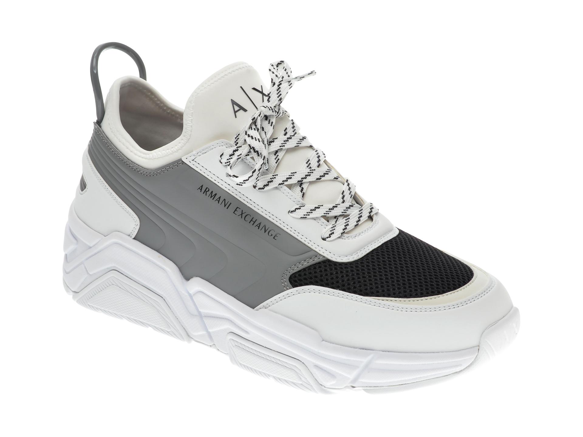Pantofi sport ARMANI EXCHANGE albi, XUX080, din material textil si piele ecologica