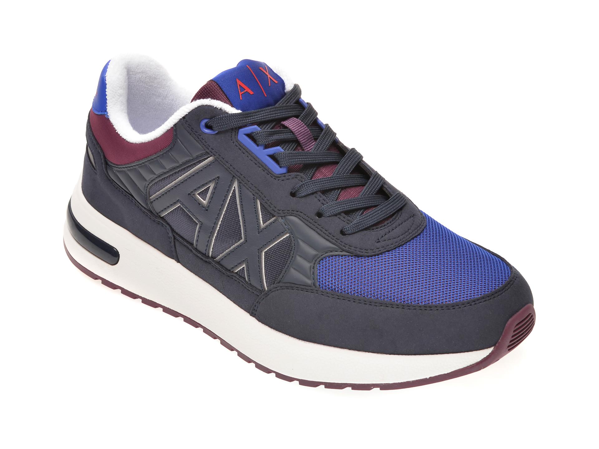 Pantofi sport ARMANI EXCHANGE bleumarin, XUX052, din material textil si piele ecologica