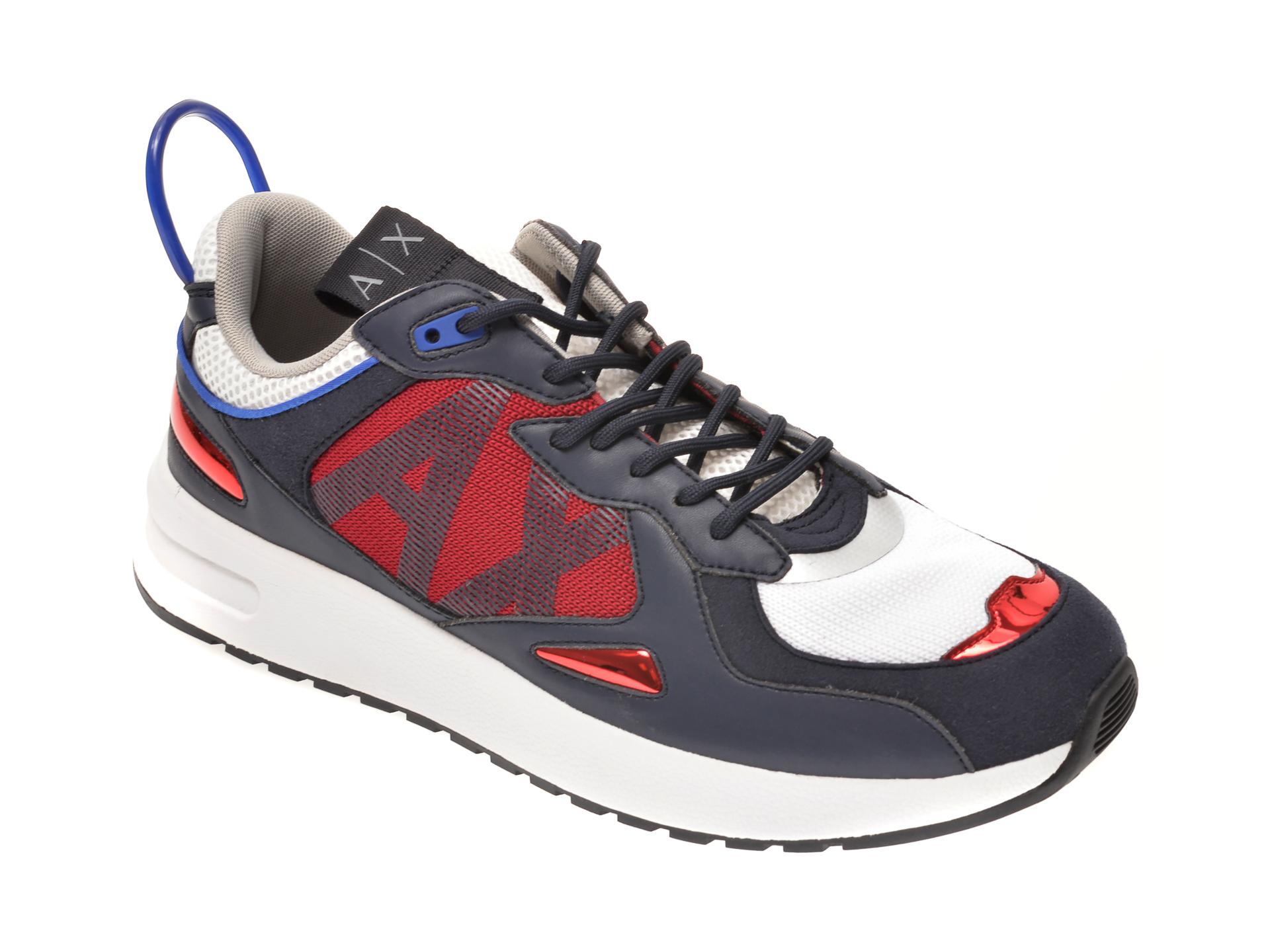 Pantofi sport ARMANI EXCHANGE bleumarin, XUX070, din material textil si piele ecologica