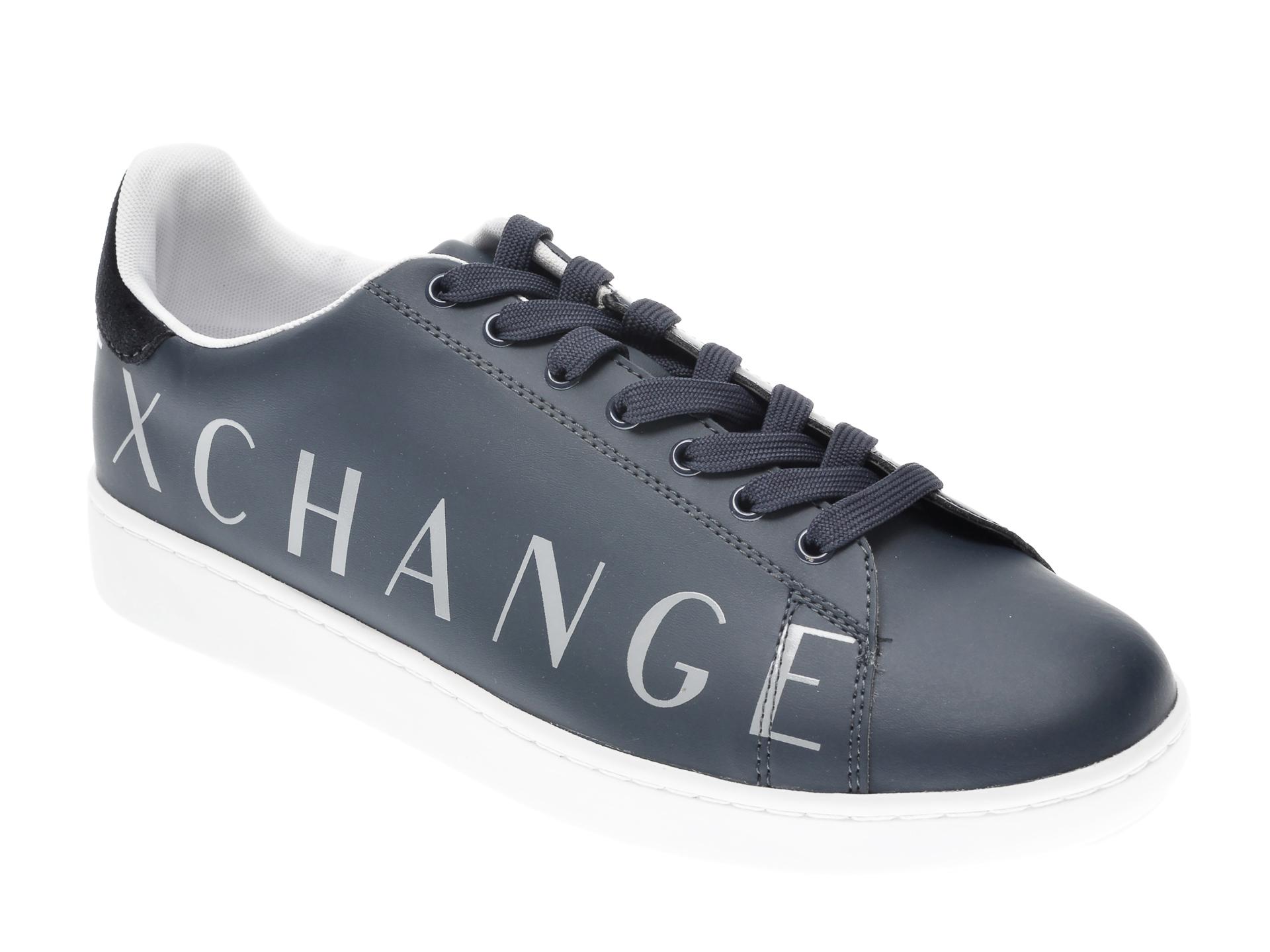 Pantofi sport ARMANI EXCHANGE bleumarin, XUX084, din piele ecologica