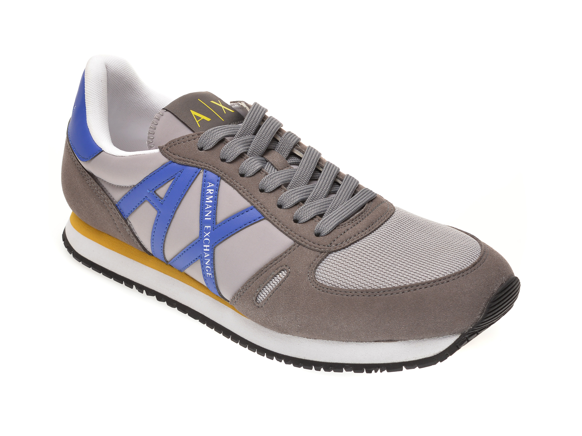 Pantofi sport ARMANI EXCHANGE gri, XUX017, din material textil si piele ecologica