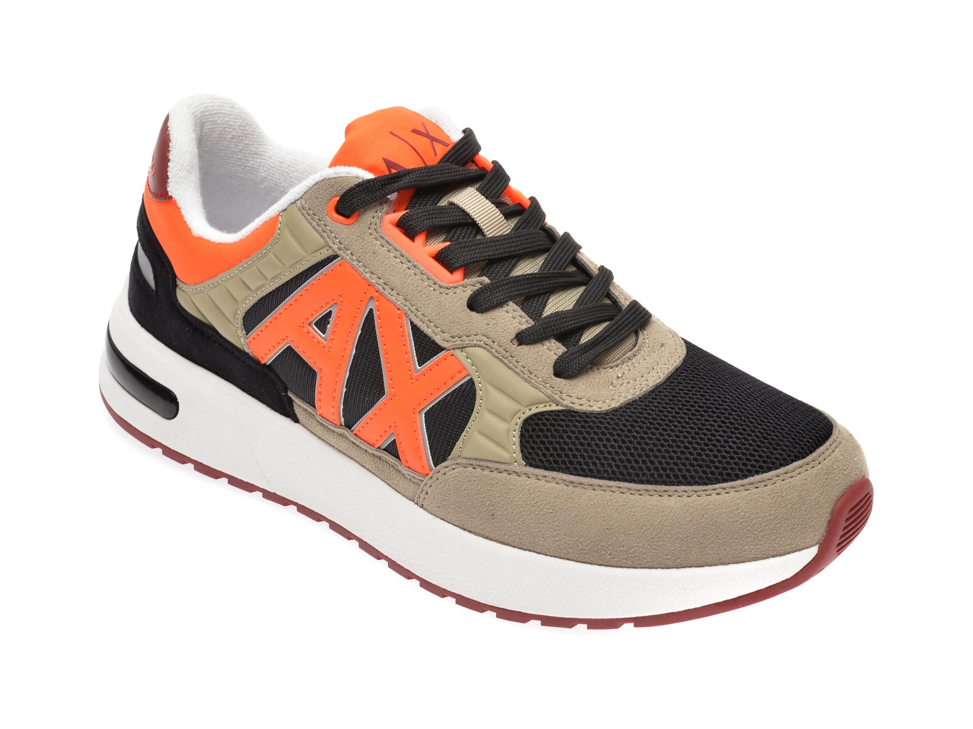 Pantofi sport ARMANI EXCHANGE kaki, XUX052, din material textil