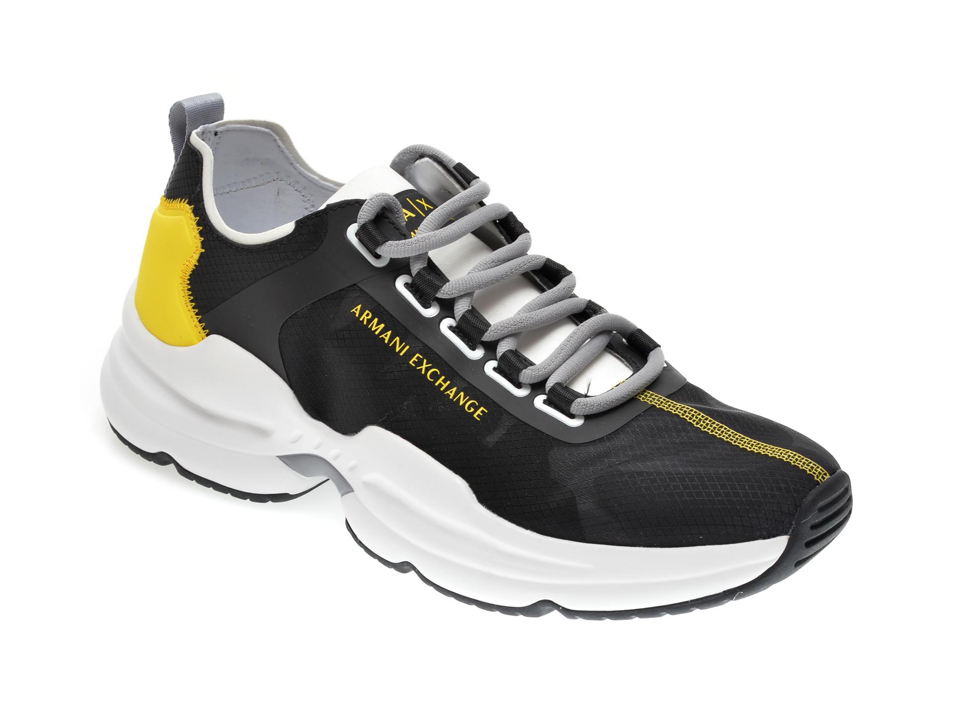 Pantofi sport ARMANI EXCHANGE negri, XUX055, din material textil