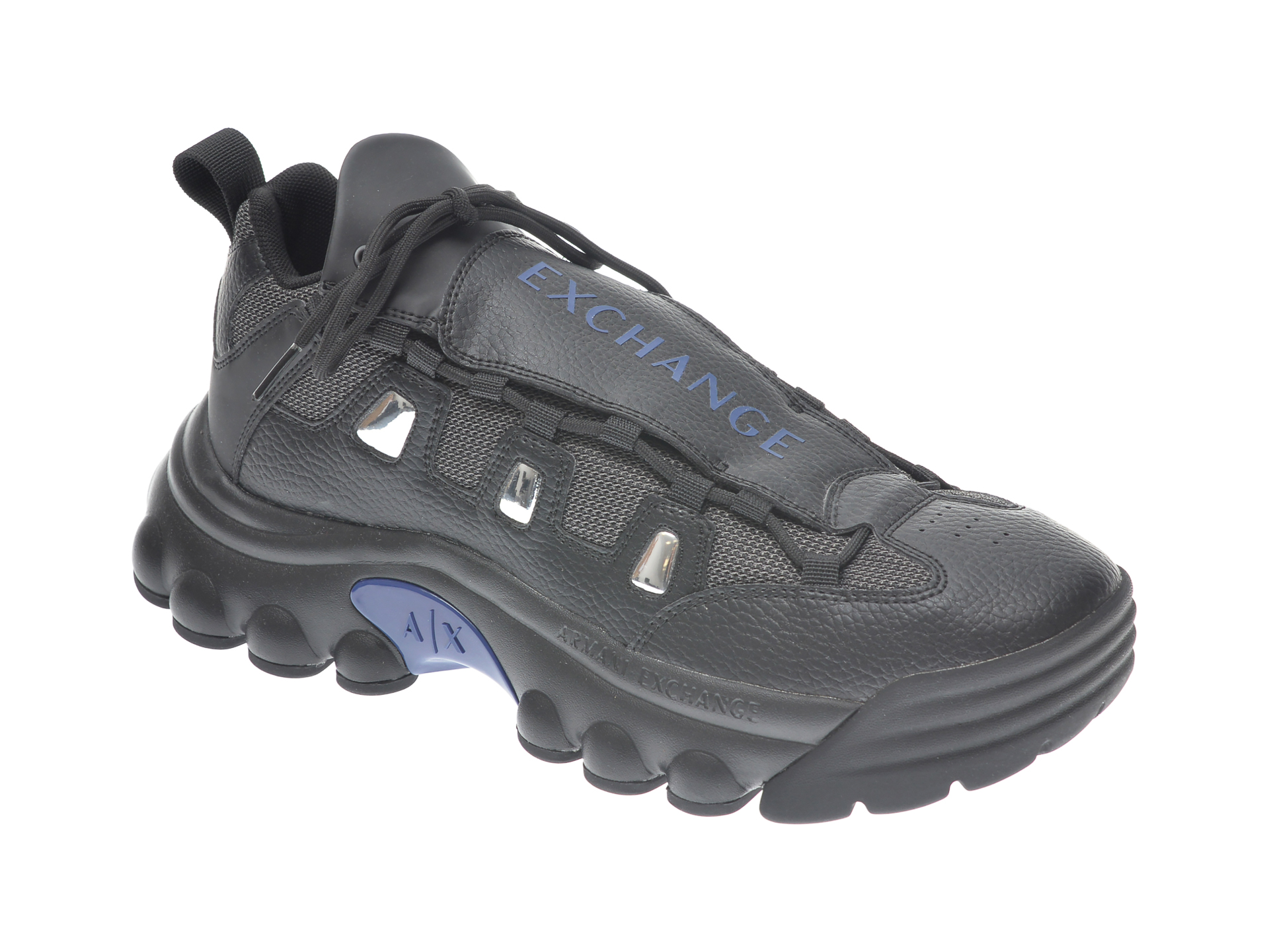 Pantofi sport ARMANI EXCHANGE negri, XUX074, din material textil si piele ecologica