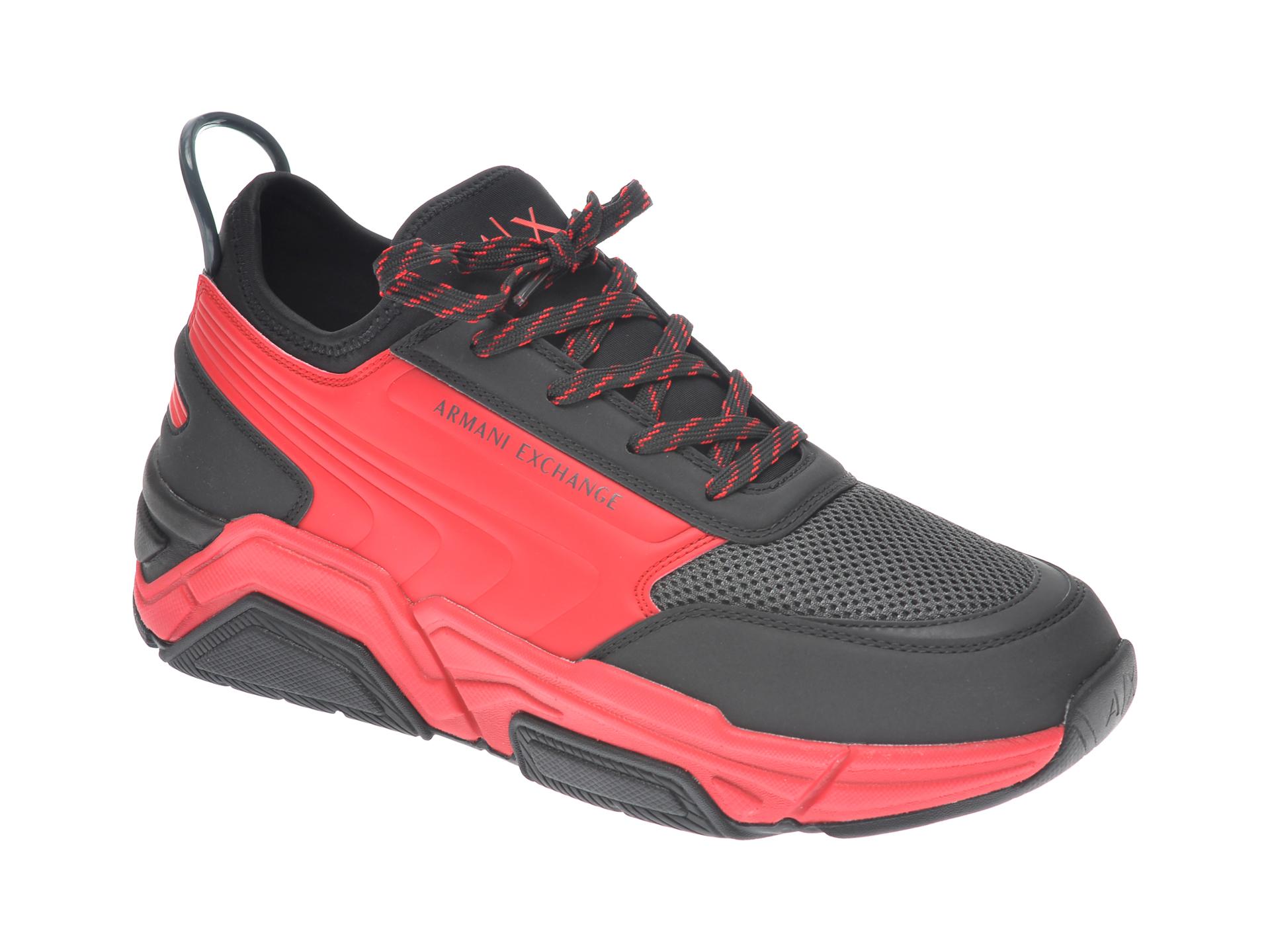 Pantofi sport ARMANI EXCHANGE negri, XUX080, din material textil si piele ecologica