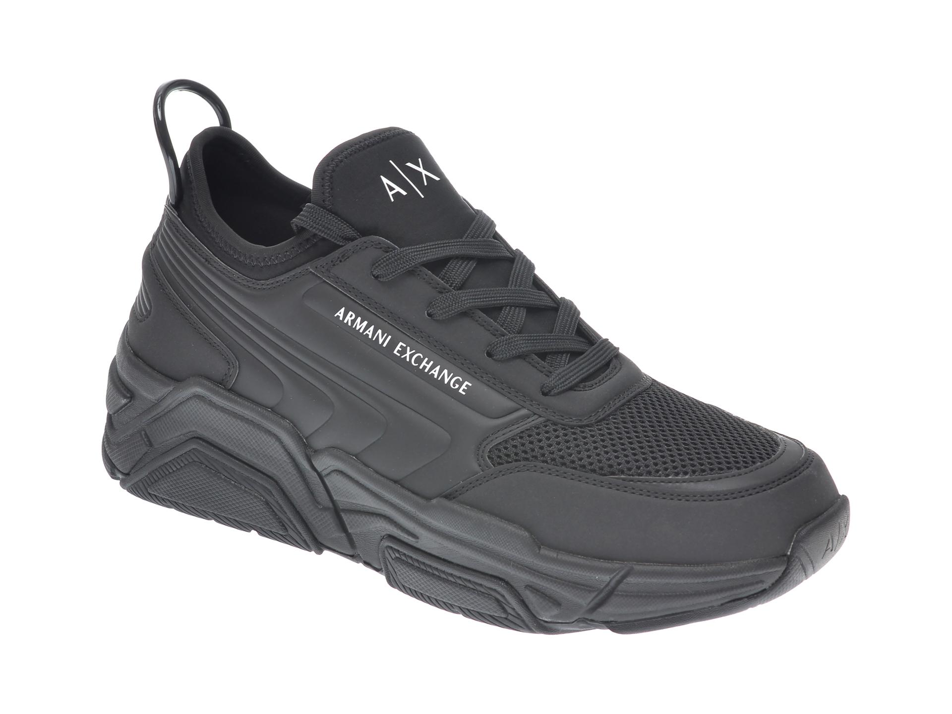 Pantofi sport ARMANI EXCHANGE negri, XUX080, din material textil si piele naturala