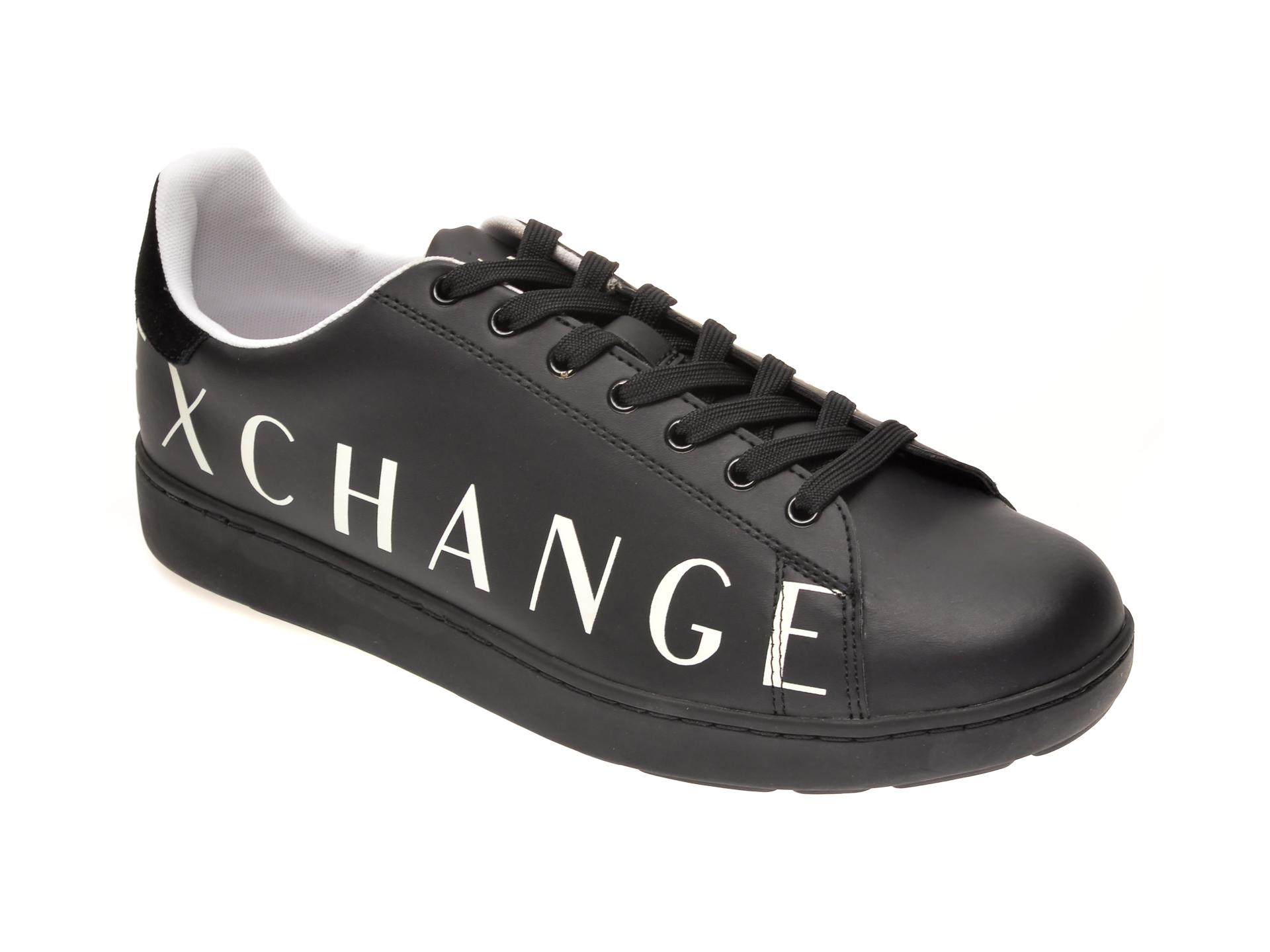 Pantofi sport ARMANI EXCHANGE negri, XUX084, din piele ecologica