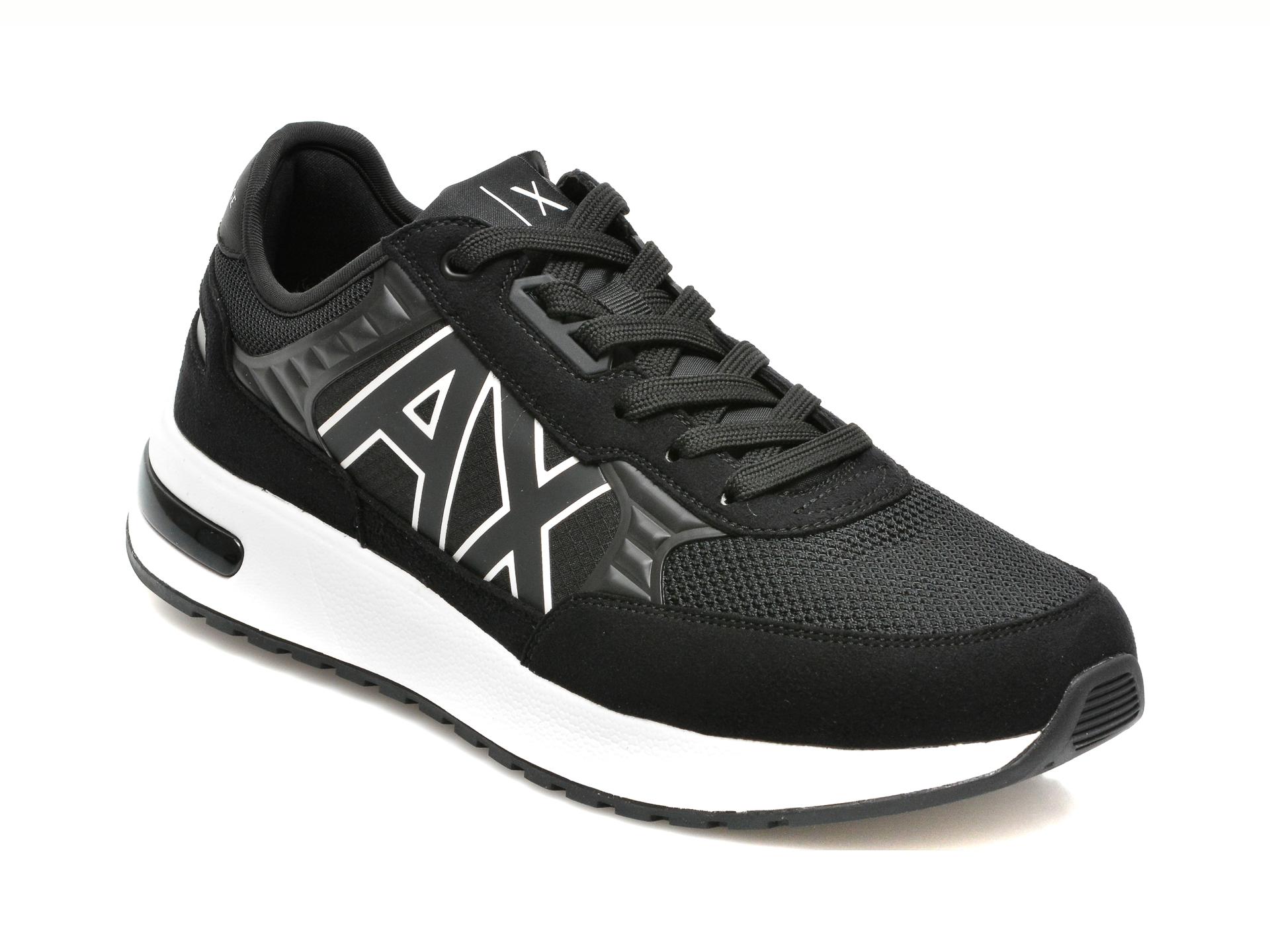 Pantofi sport ARMANI EXCHANGE negri, XUX090, din material textil si piele ecologica