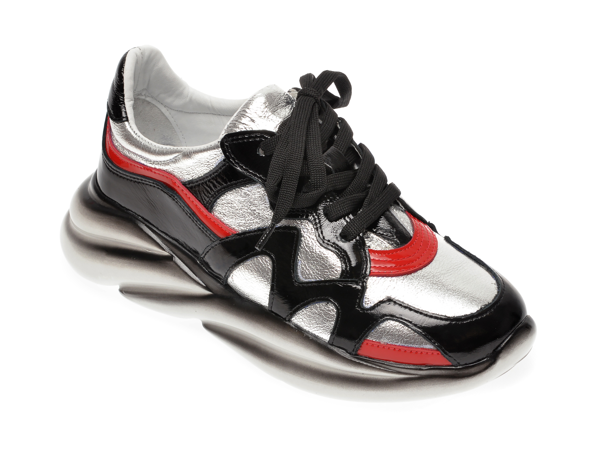 Pantofi sport EPICA argintii, 372BENN, din piele naturala