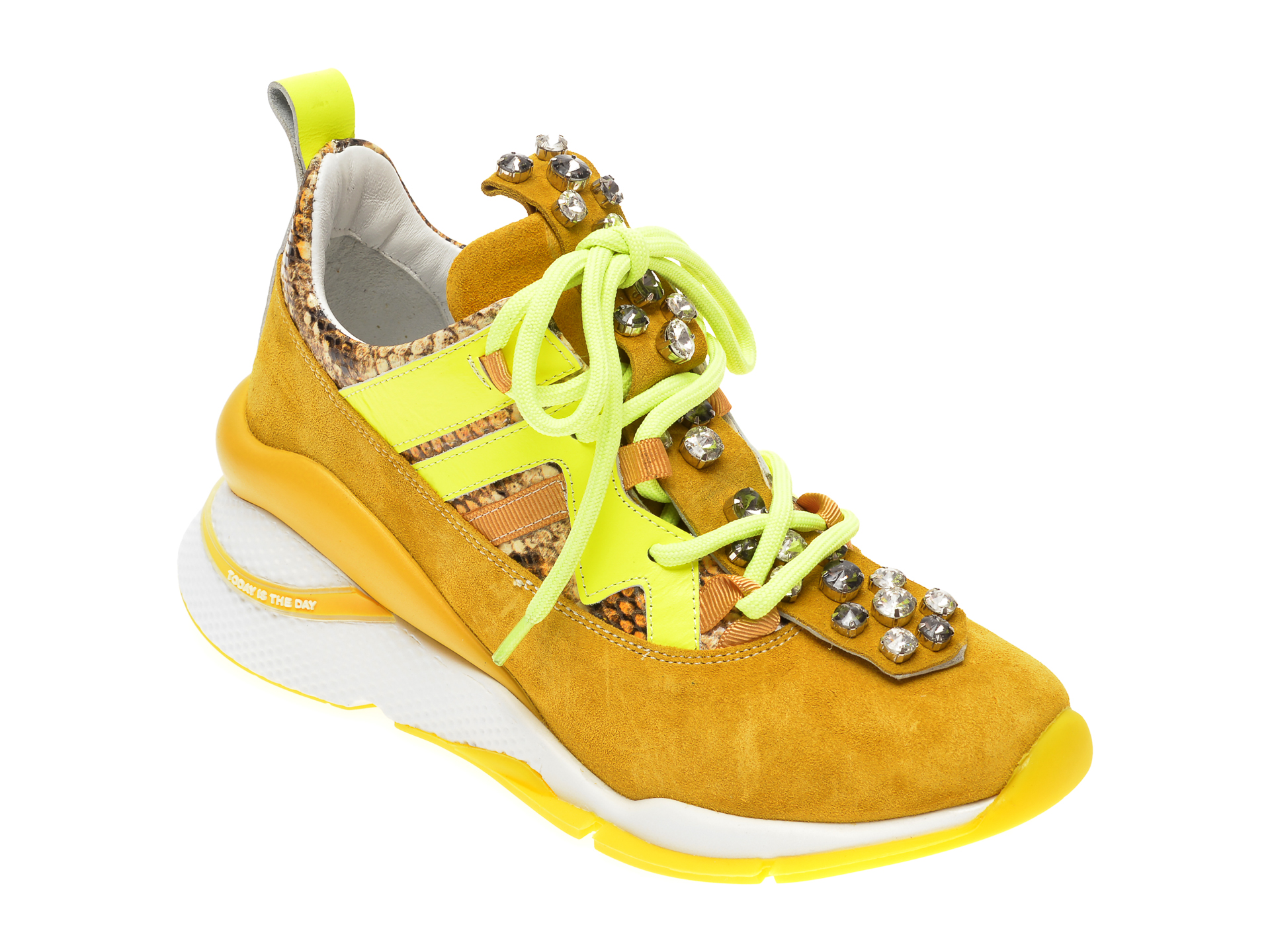 Pantofi sport EPICA galbeni, 3133GE, din piele intoarsa