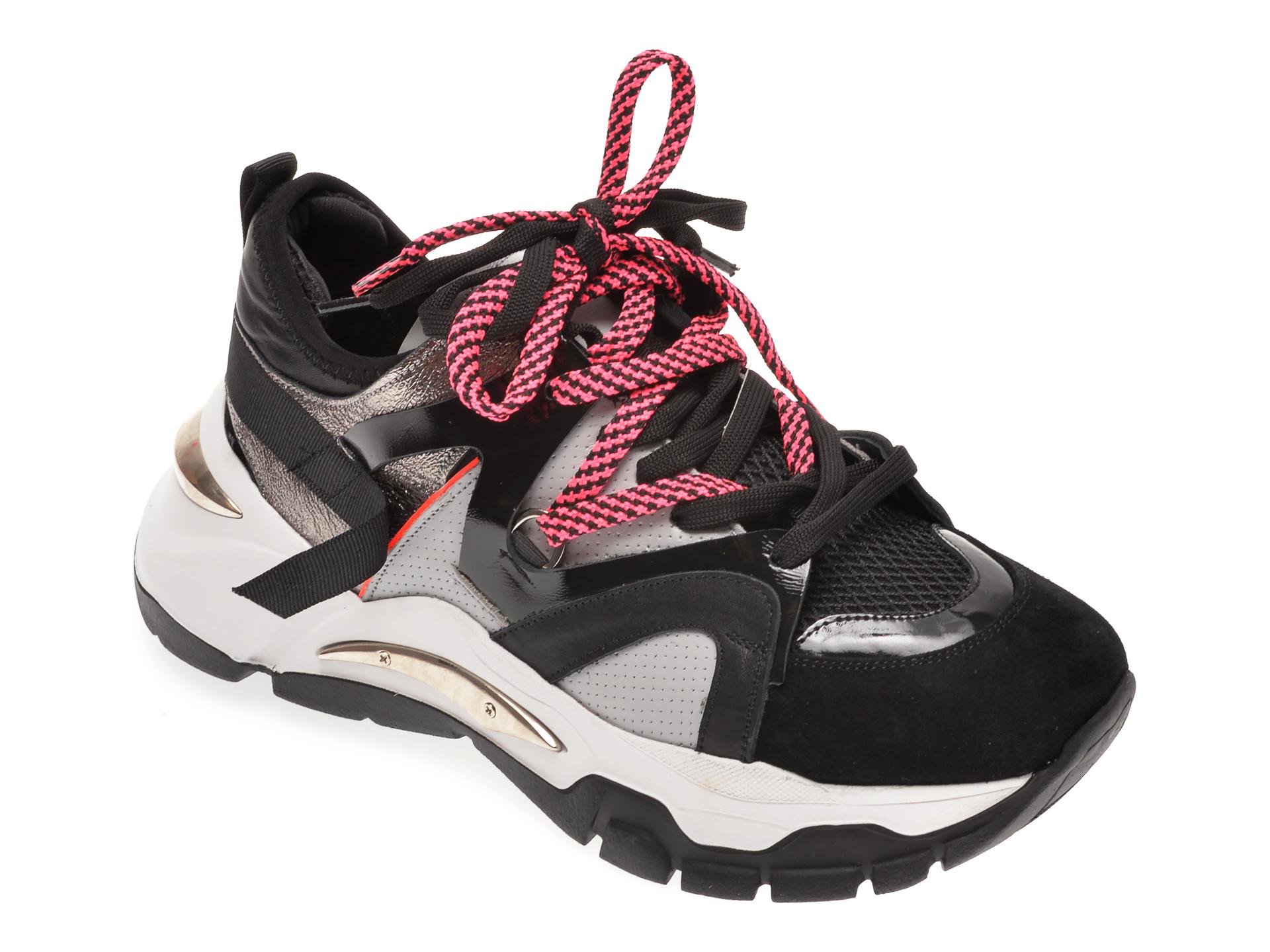 Pantofi sport FLAVIA PASSINI negri, 135P01, din material textil si piele naturala